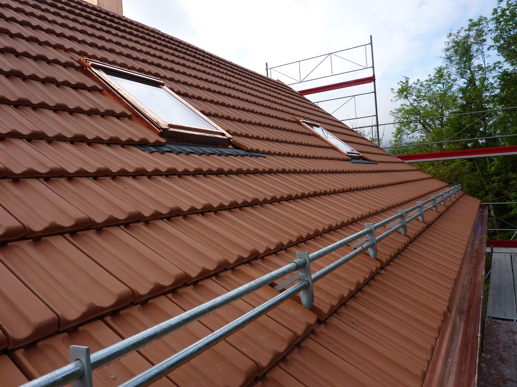 Röhrenschneefang in Ziegeldach und Dachflächenfenster