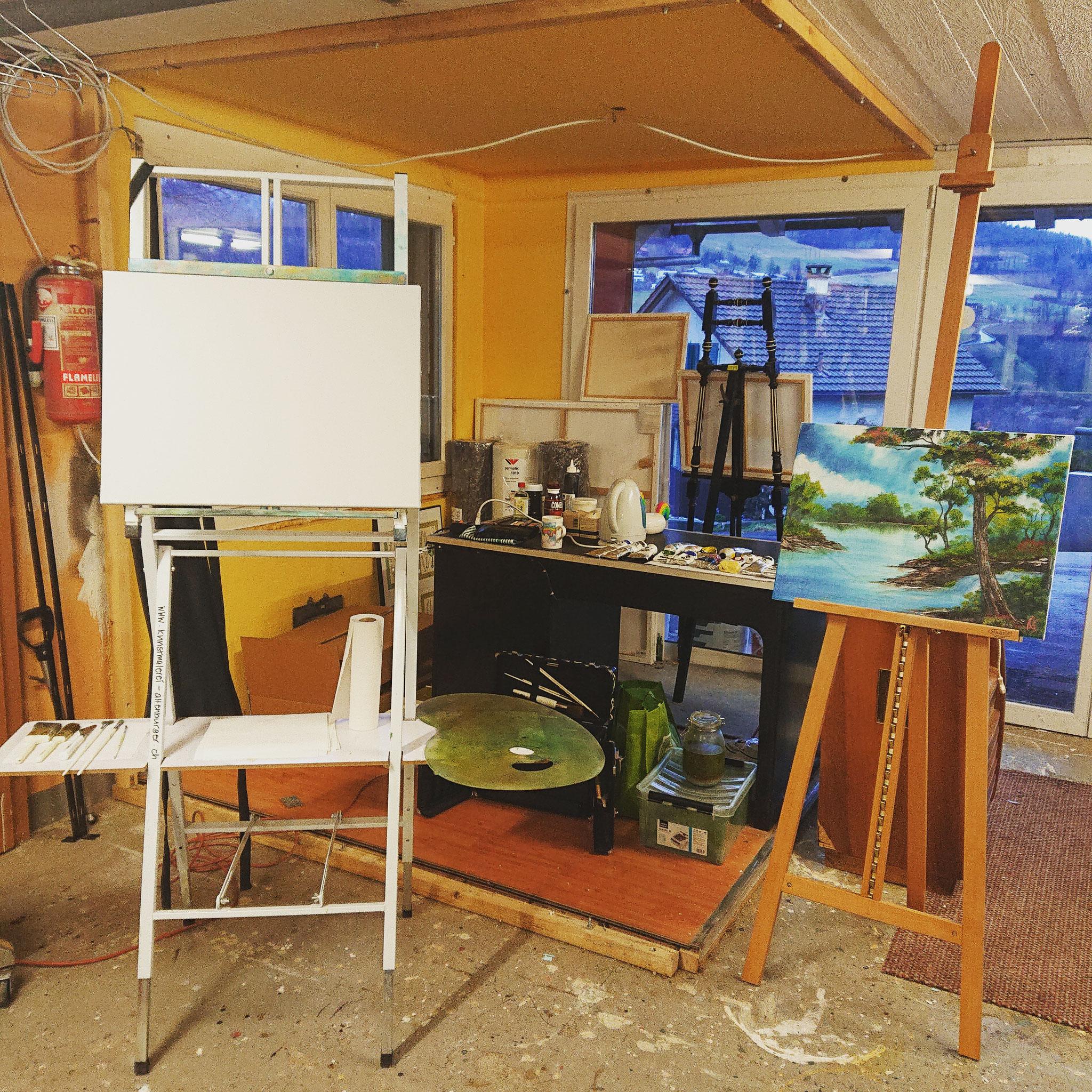 Die etwas umgebaute Werkstatt steht für den ersten Auftritt bereit.