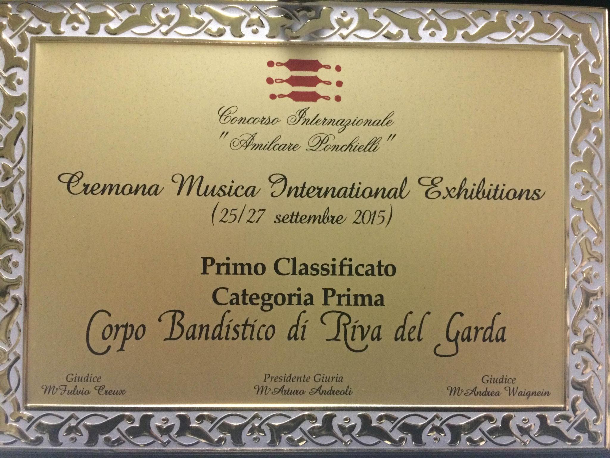 2015 1° premio concorso Cremona
