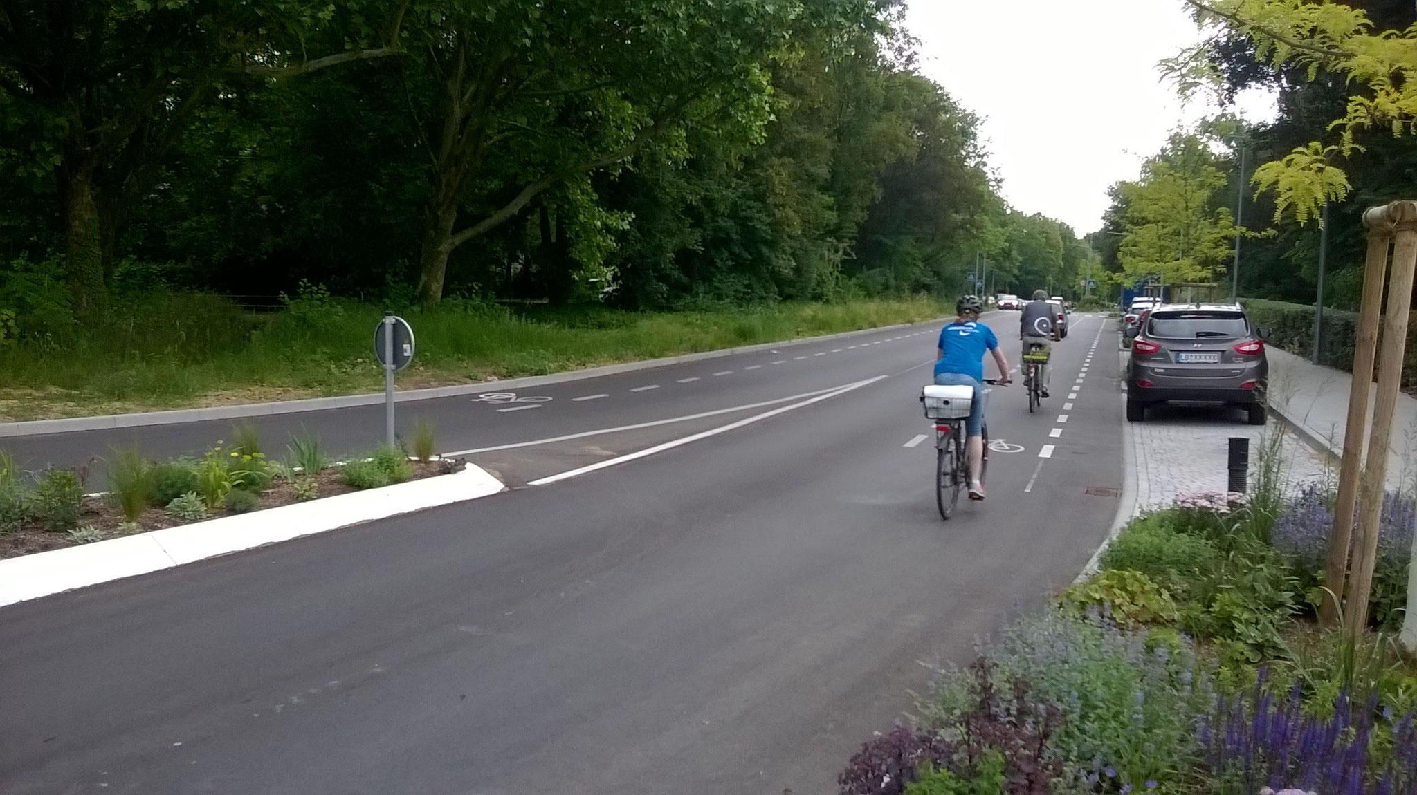 Neue Schutzstreifen an der Comburgstraße