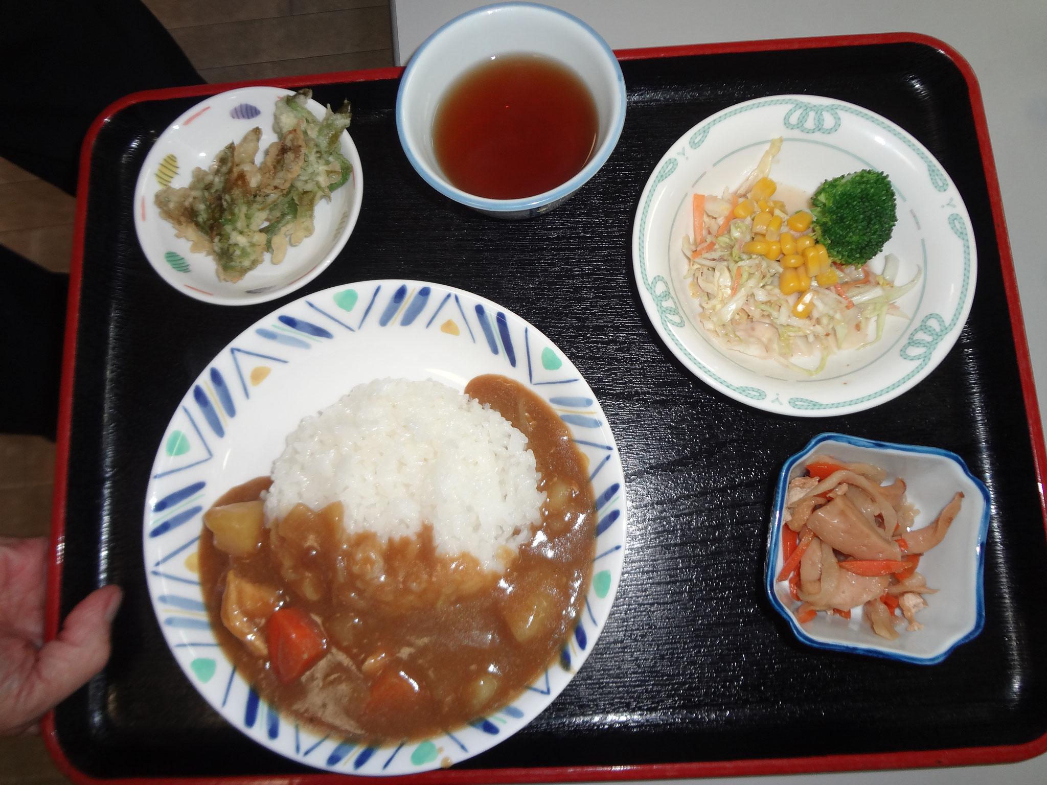 本日のカレーセットです。サプライズでふきのとうの天ぷらが添えられました。