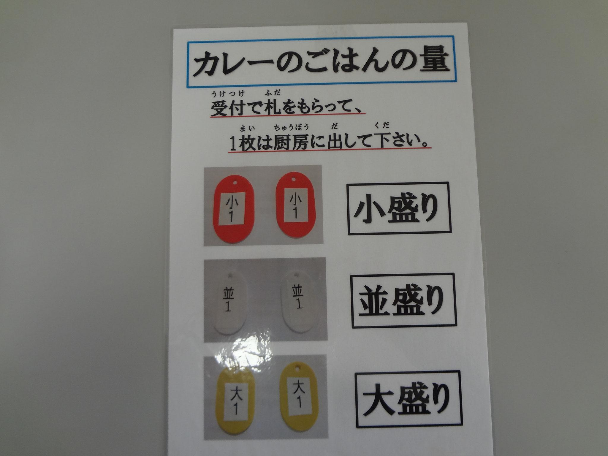 並、小盛、大盛にお子様用に甘口が有ります。デモ時のアンケートから採用されました。