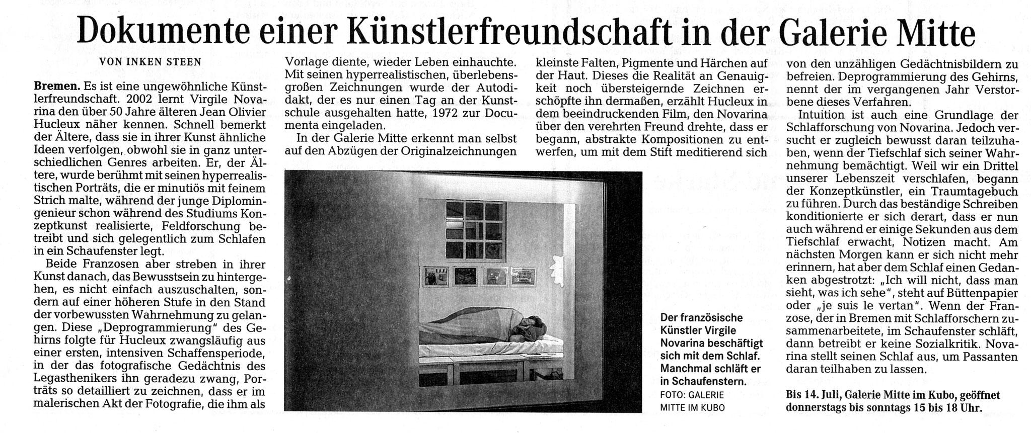 Weserkurier, Inken Steen, 29.05.2013