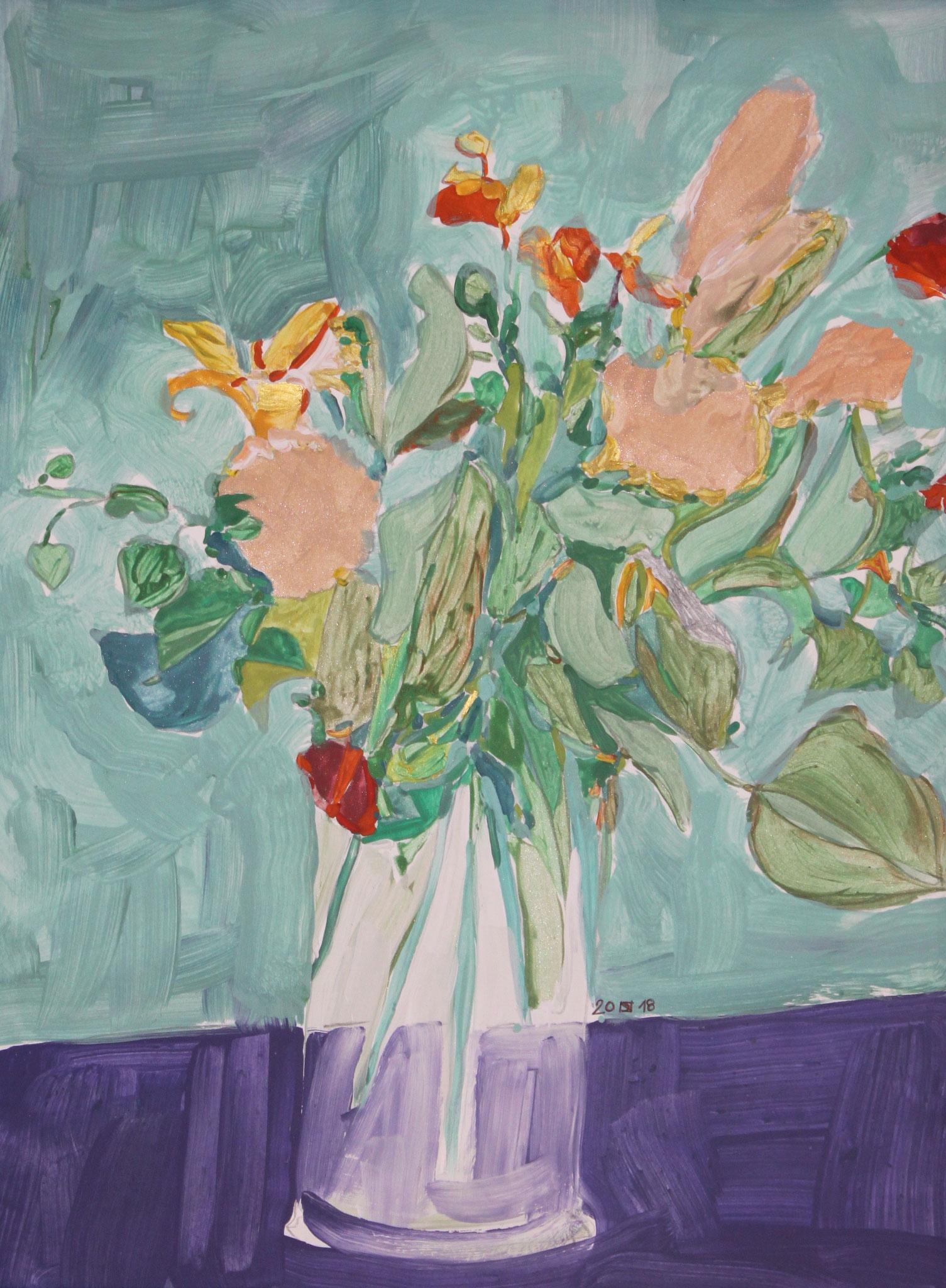 Nelken, 2018, Gouache und Aquarell auf Papier, 42 cm x 30 cm