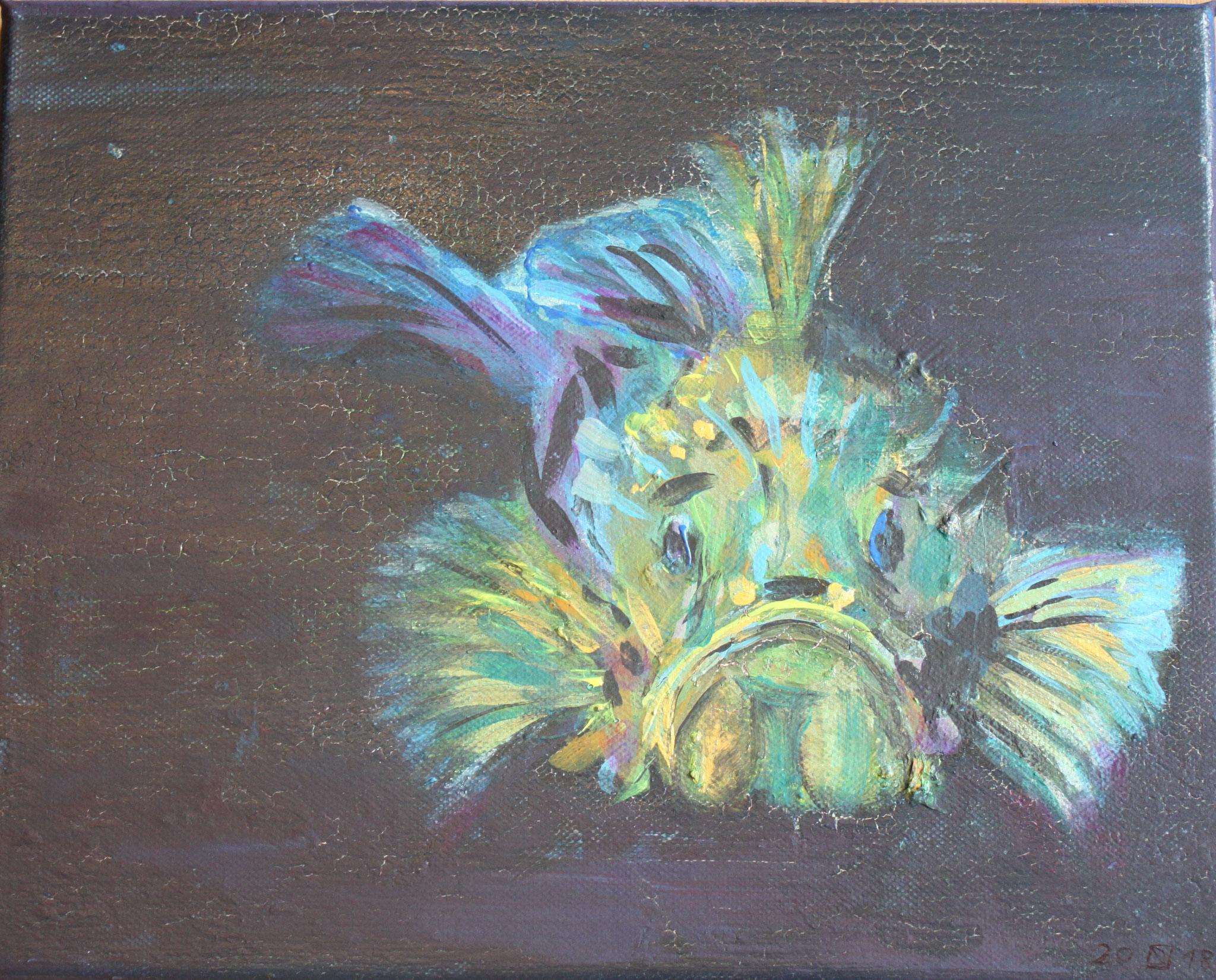 Seeteufel, Acryl auf Leinwand, 2018, 25 cm x 30 cm x 1 cm