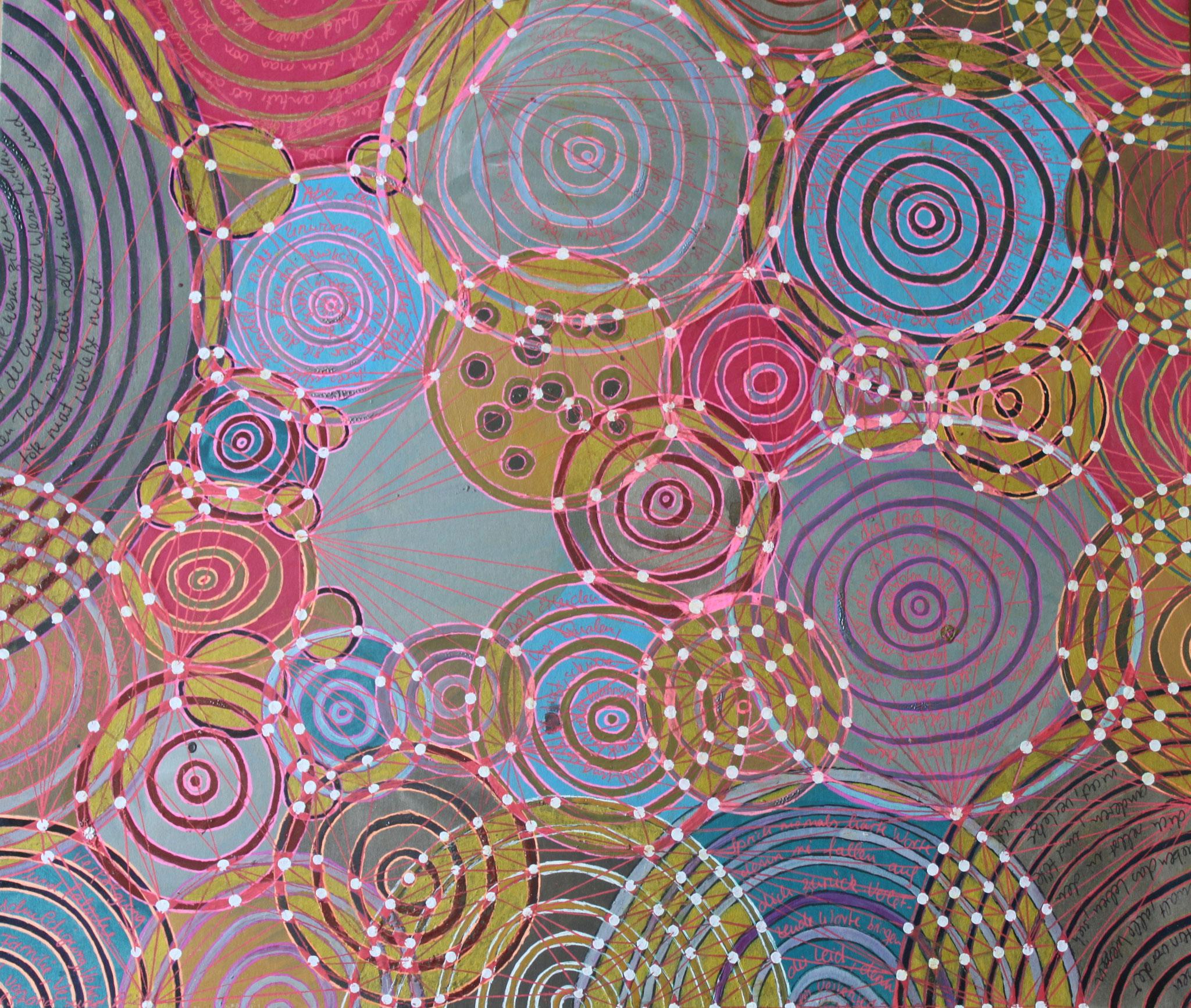 Sakura 9 - Die Gewalt; Mischtechnik auf Karton; 42 cm x 37 cm; 2018