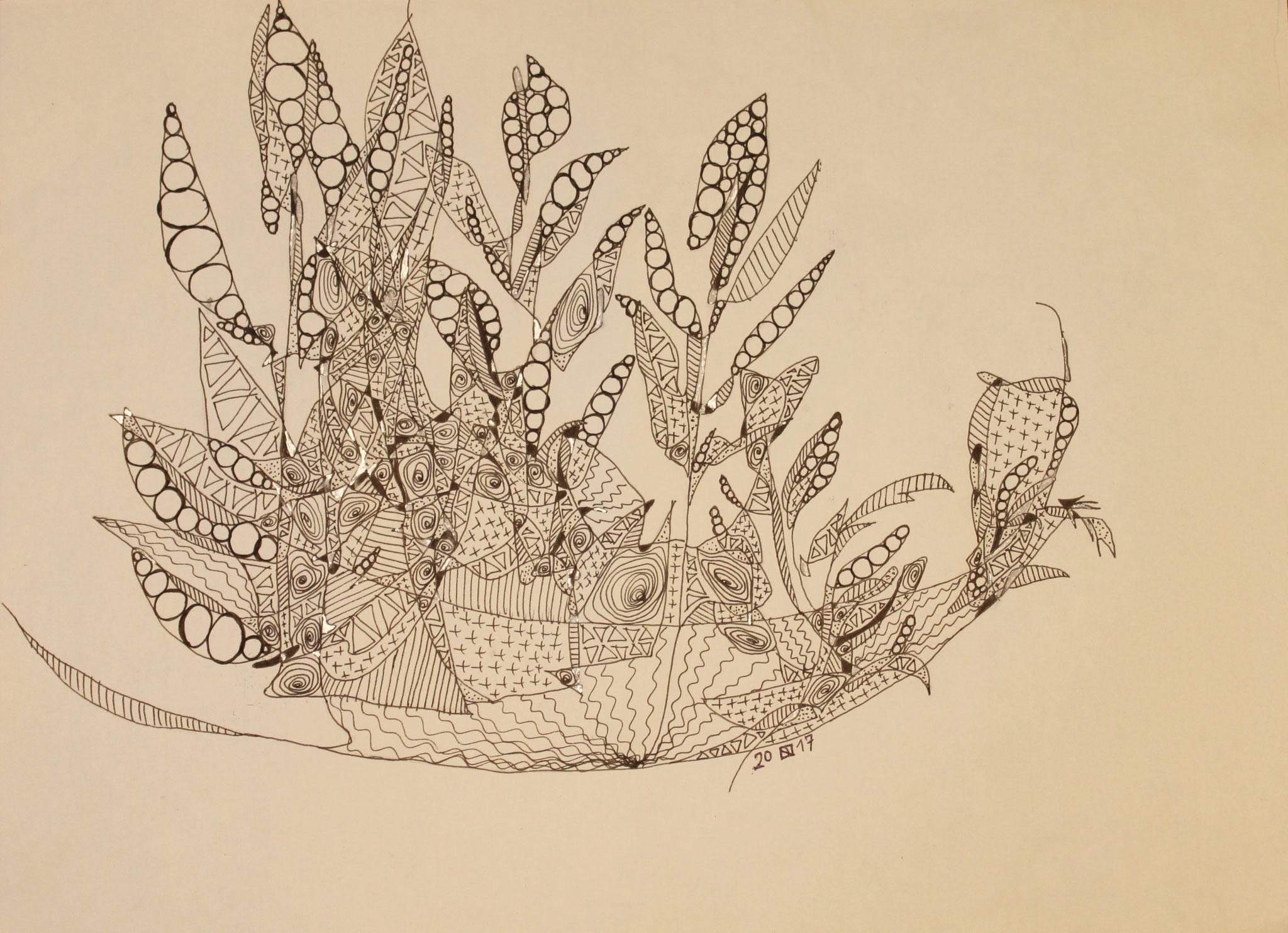 Drahblumenschale, Fineliner und Silbertinte auf Papier, 29 cm x 42 cm cm, 2017