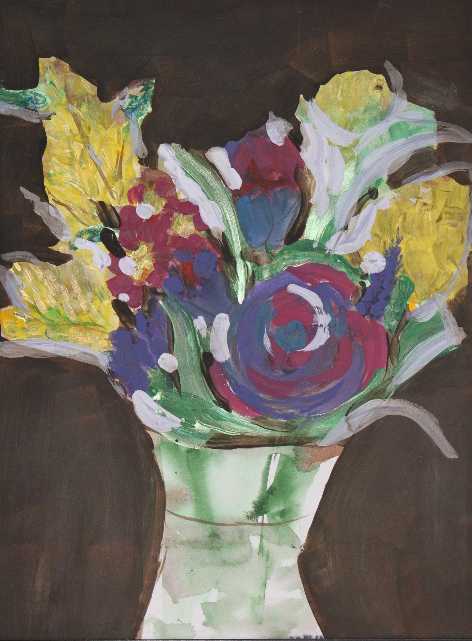 Goldregen, 2018, Gouache und Aquarell auf Papier, 42 cm x 30 cm