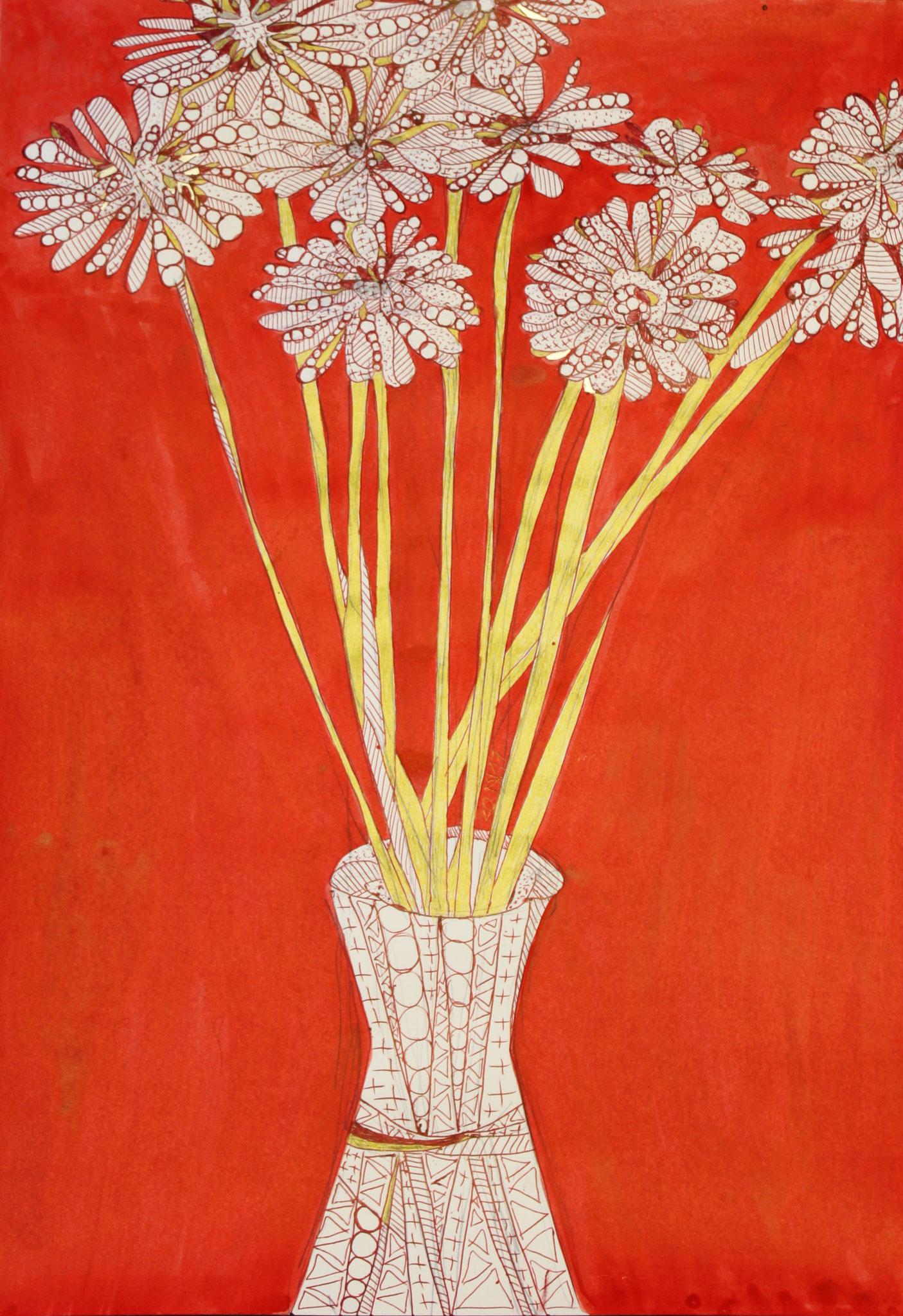 Goldene Drahtblumen, Tinte und Kugelschreiber auf Papier, 42 cm x 29 cm, 2017