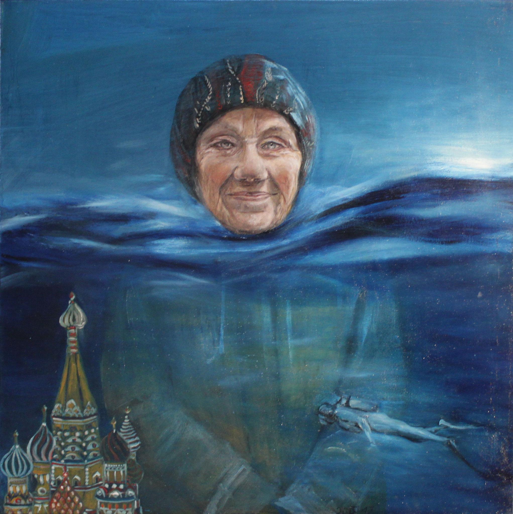 Emma, 2017, Öl auf Leinwand, 80 cm x 80 cm x 4 cm