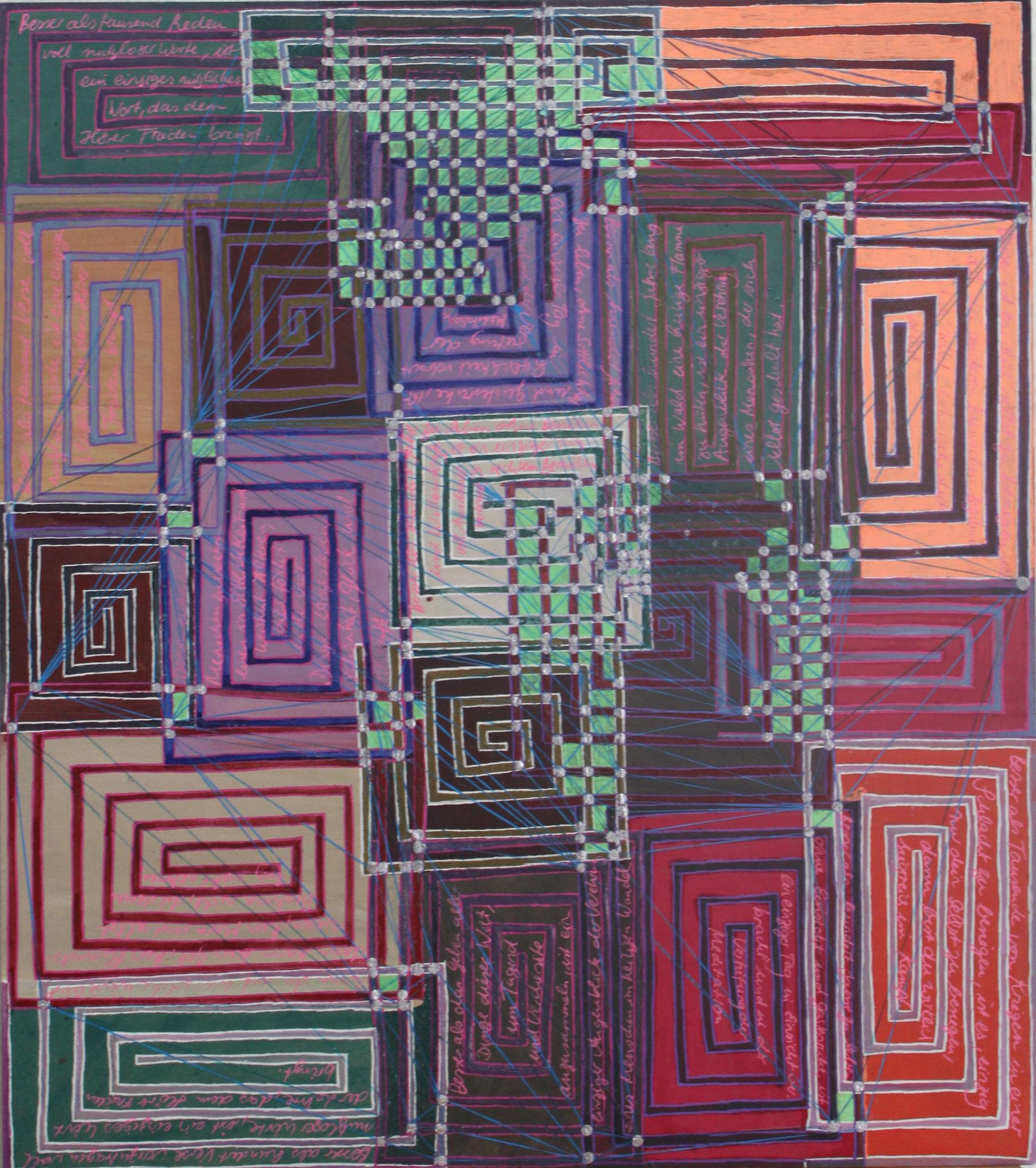 Sakura 8 - Die Tausend; Mischtechnik auf Karton; 42 cm x 37 cm; 2018