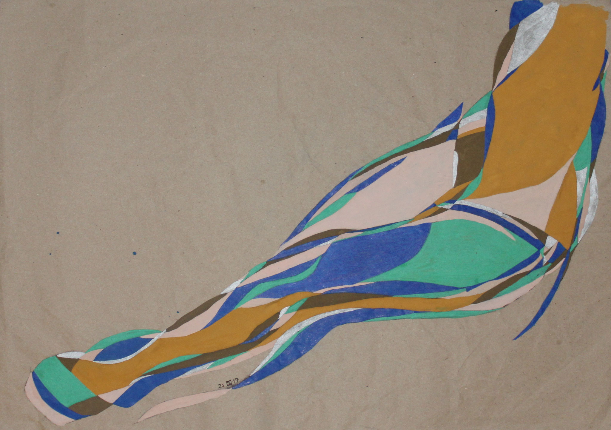 Sitting, Aquarell und Buntstift auf Papier, 2017,  50 cm x 70 cm
