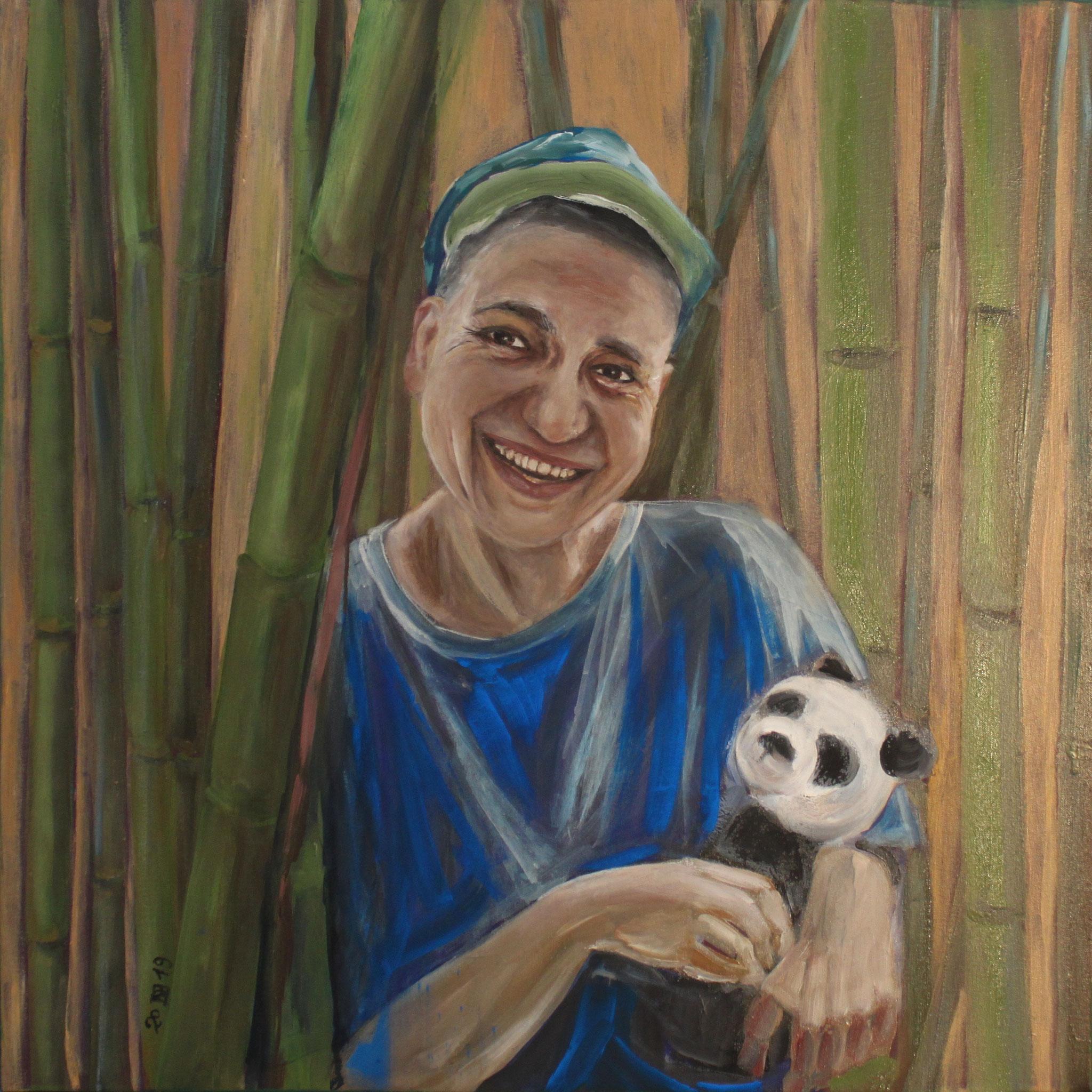 Manuela, 2019, Öl auf Leinwand, 80 cm x 80 cm x 4 cm