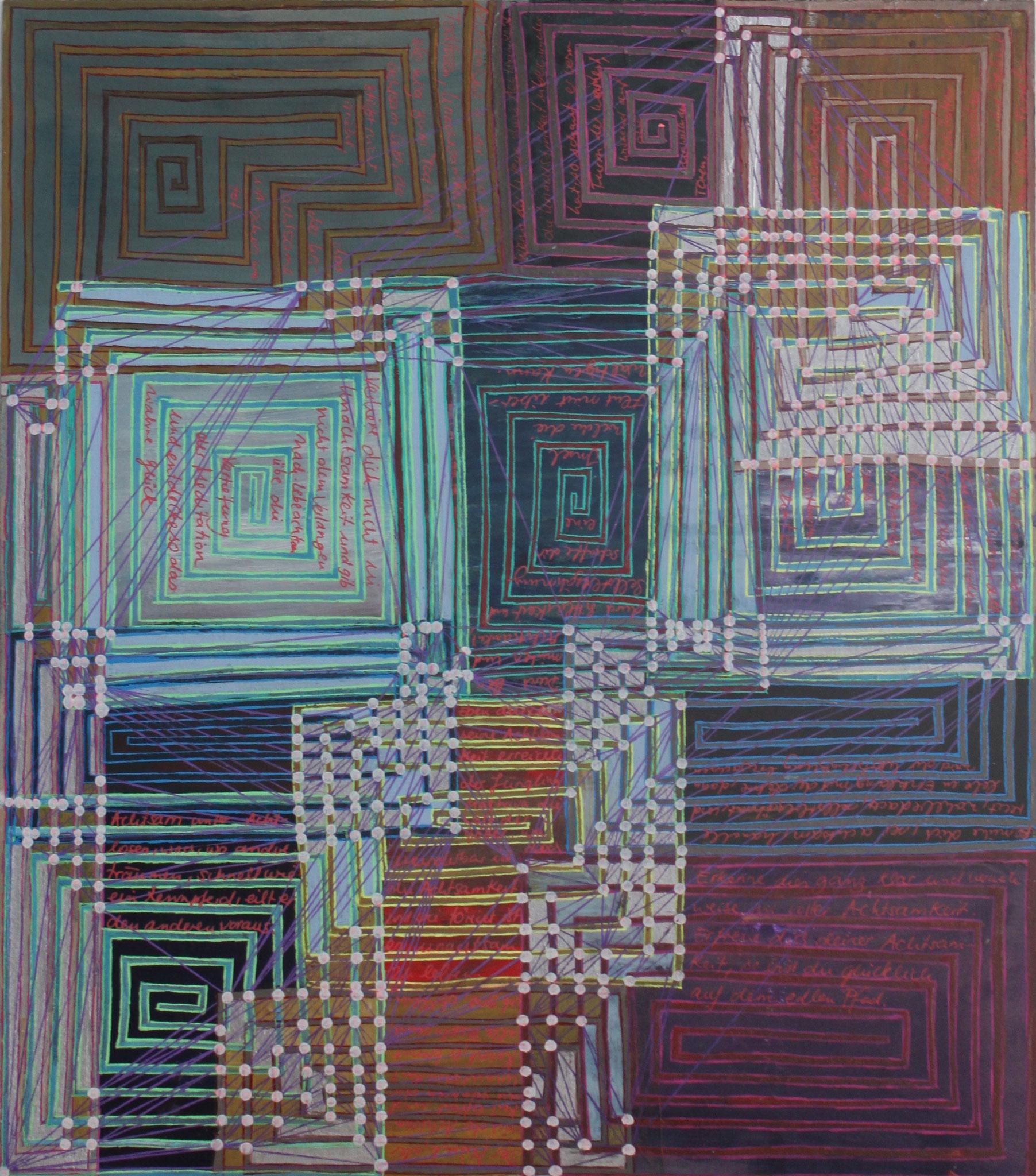 Sakura 2 - Die Achtsamkeit; Mischtechnik auf Karton; 42 cm x 37 cm; 2018