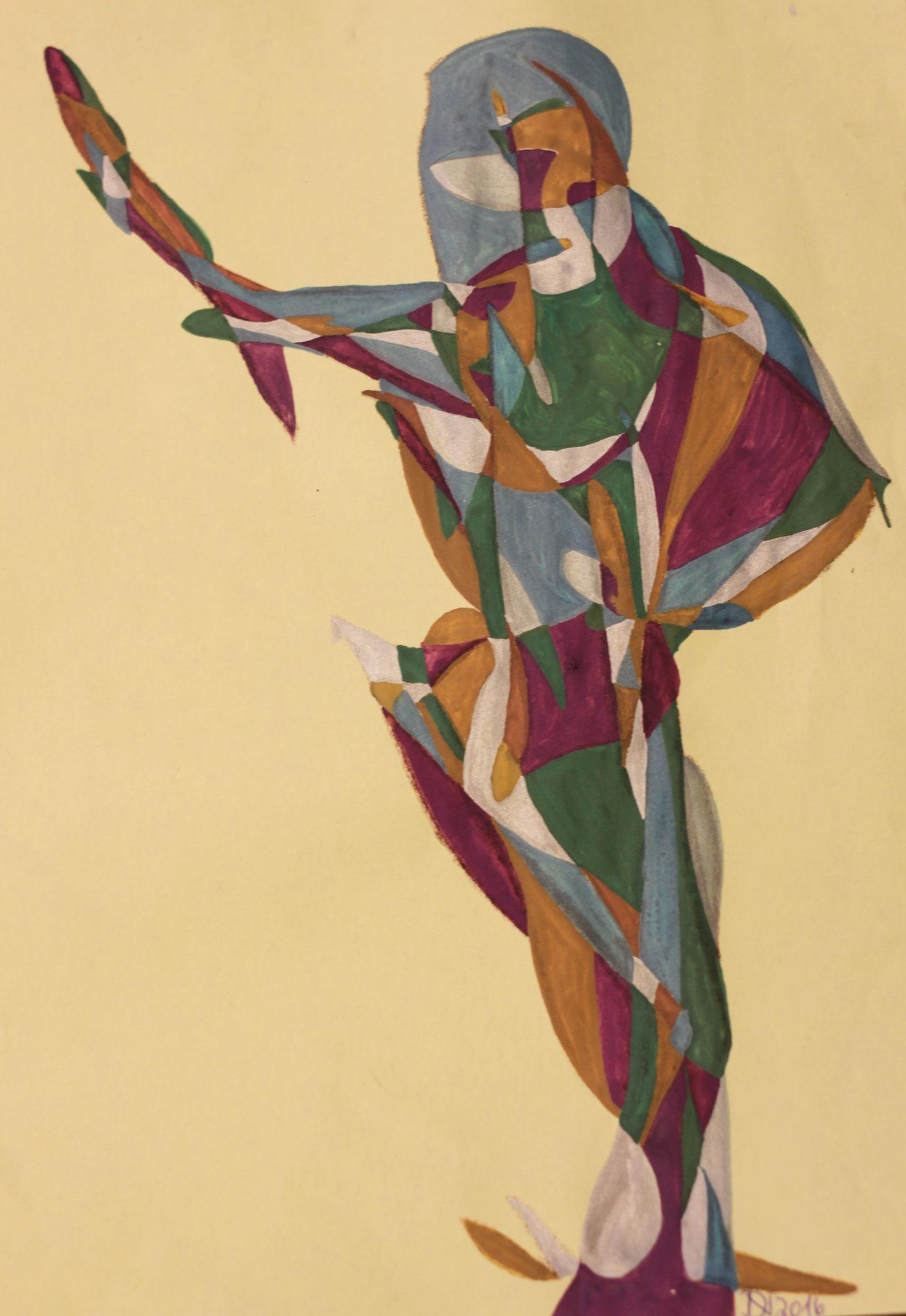 Olympia, Aquarell und Buntstift auf Papier, 2017, 29 x 21 cm