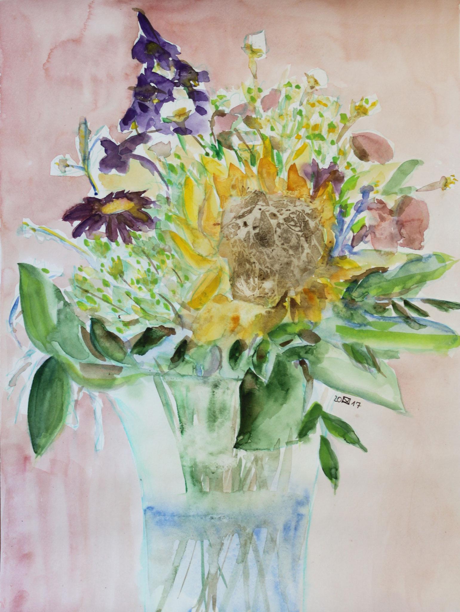 Sonnenblume, 2018, Gouache und Aquarell auf Papier, 42 cm x 30 cm