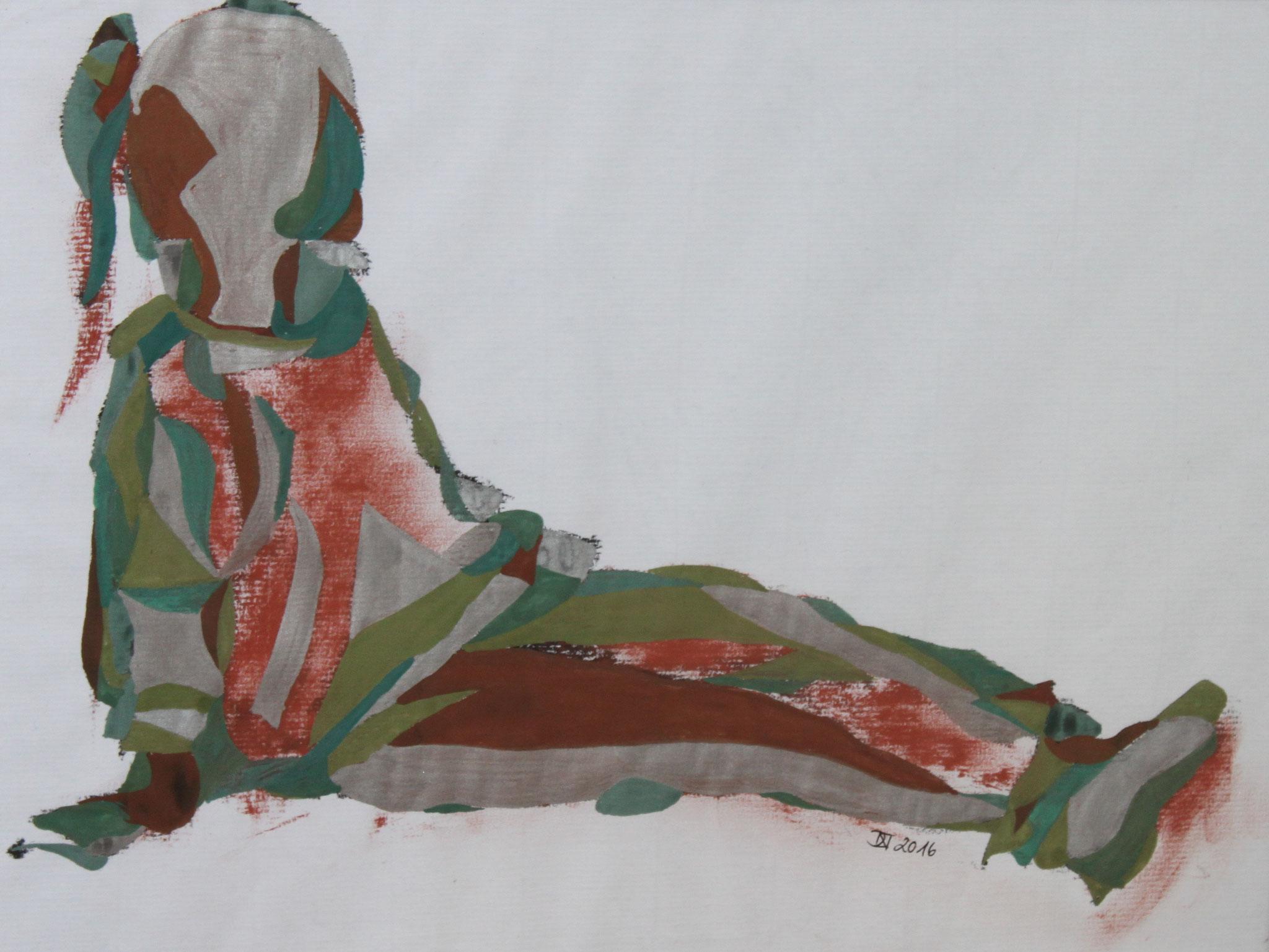 Mädchen sitzend, Aquarell und Buntstift auf Papier, 2017, 29 cm x 42 cm