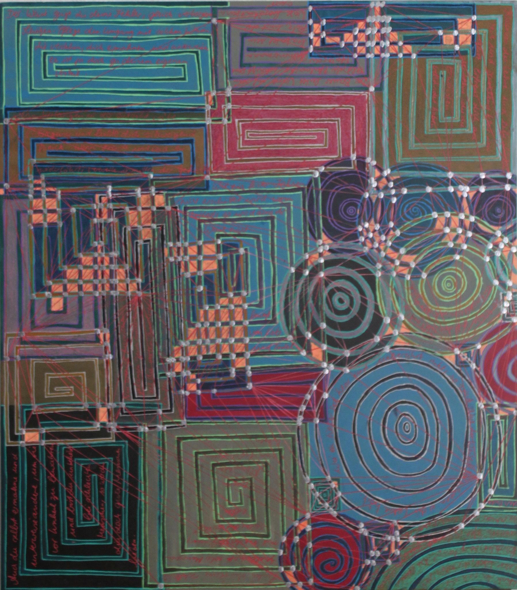 Sakura 6 - Der Weise; Mischtechnik auf Karton; 42 cm x 37 cm; 2018