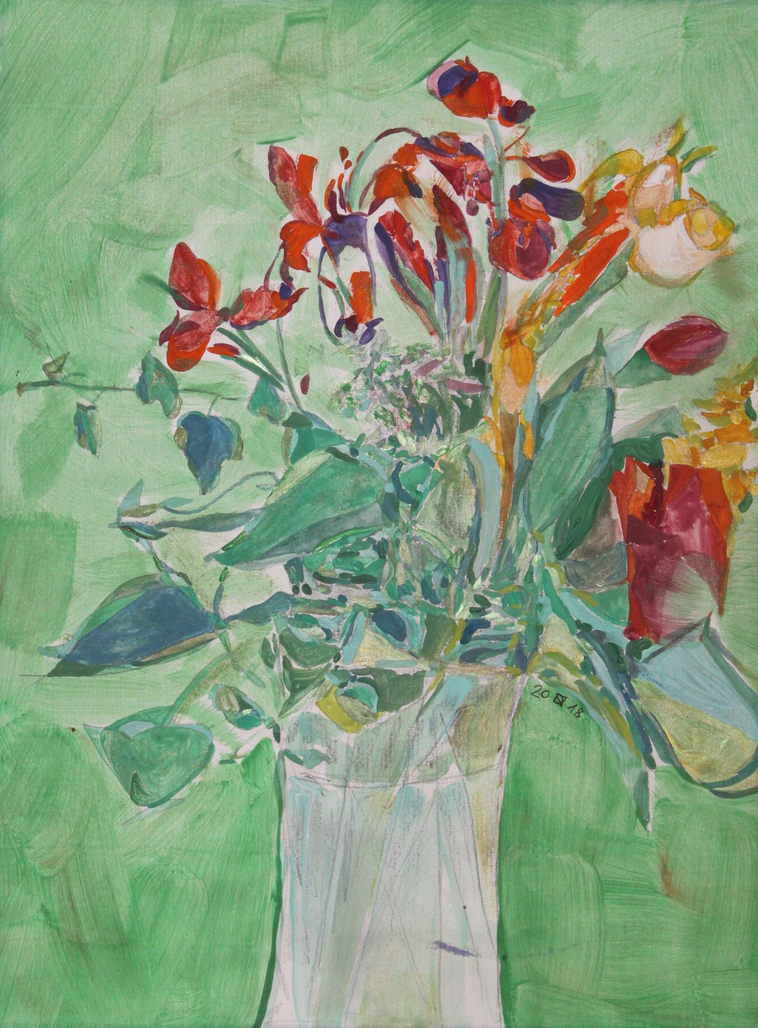 Frauenschuh, 2018, Gouache und Aquarell auf Papier, 42 cm x 30 cm