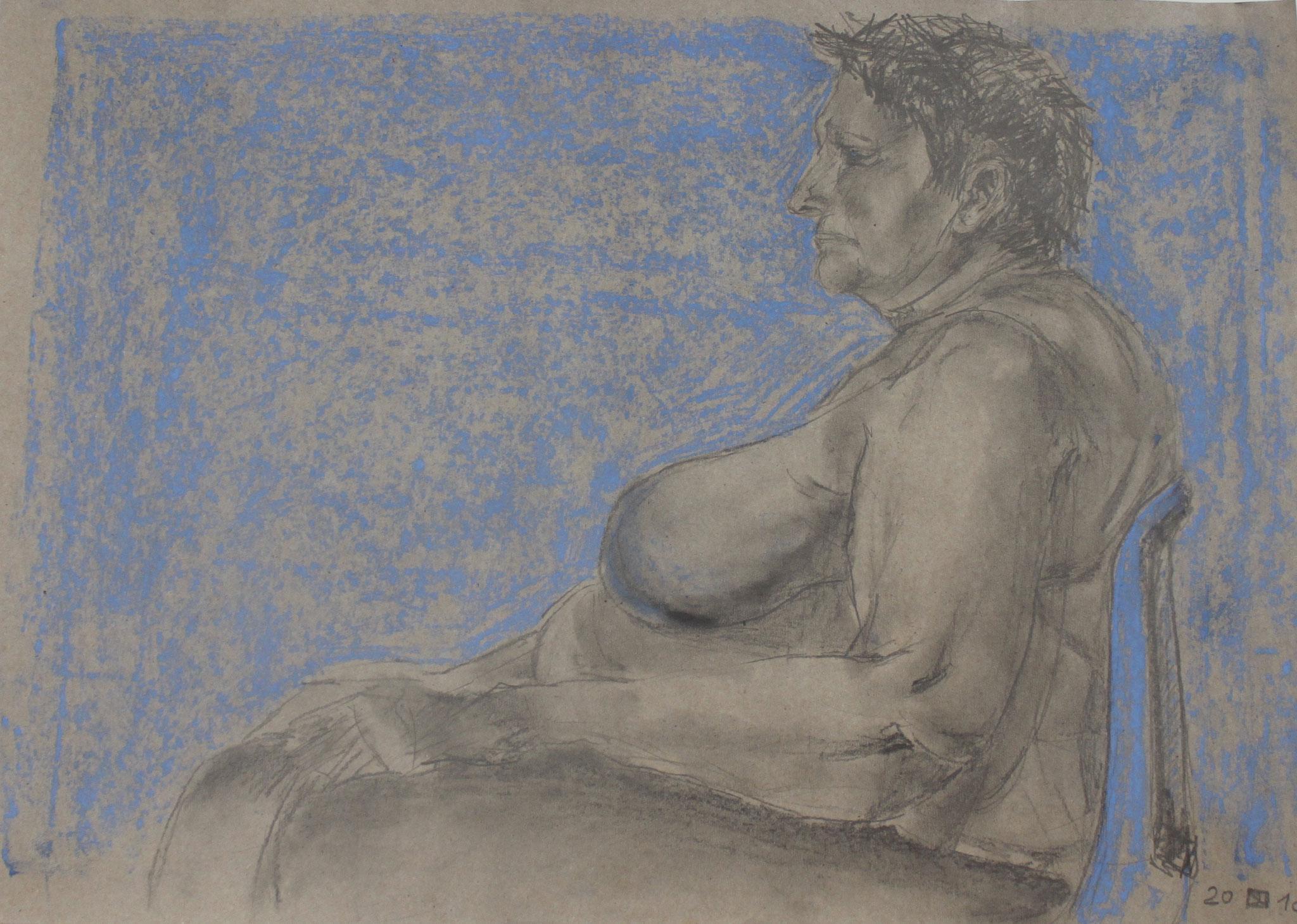 Die blaue Wand, Bleistift und Pastellkreide auf Papier, 2018, 42 cm x 60 cm