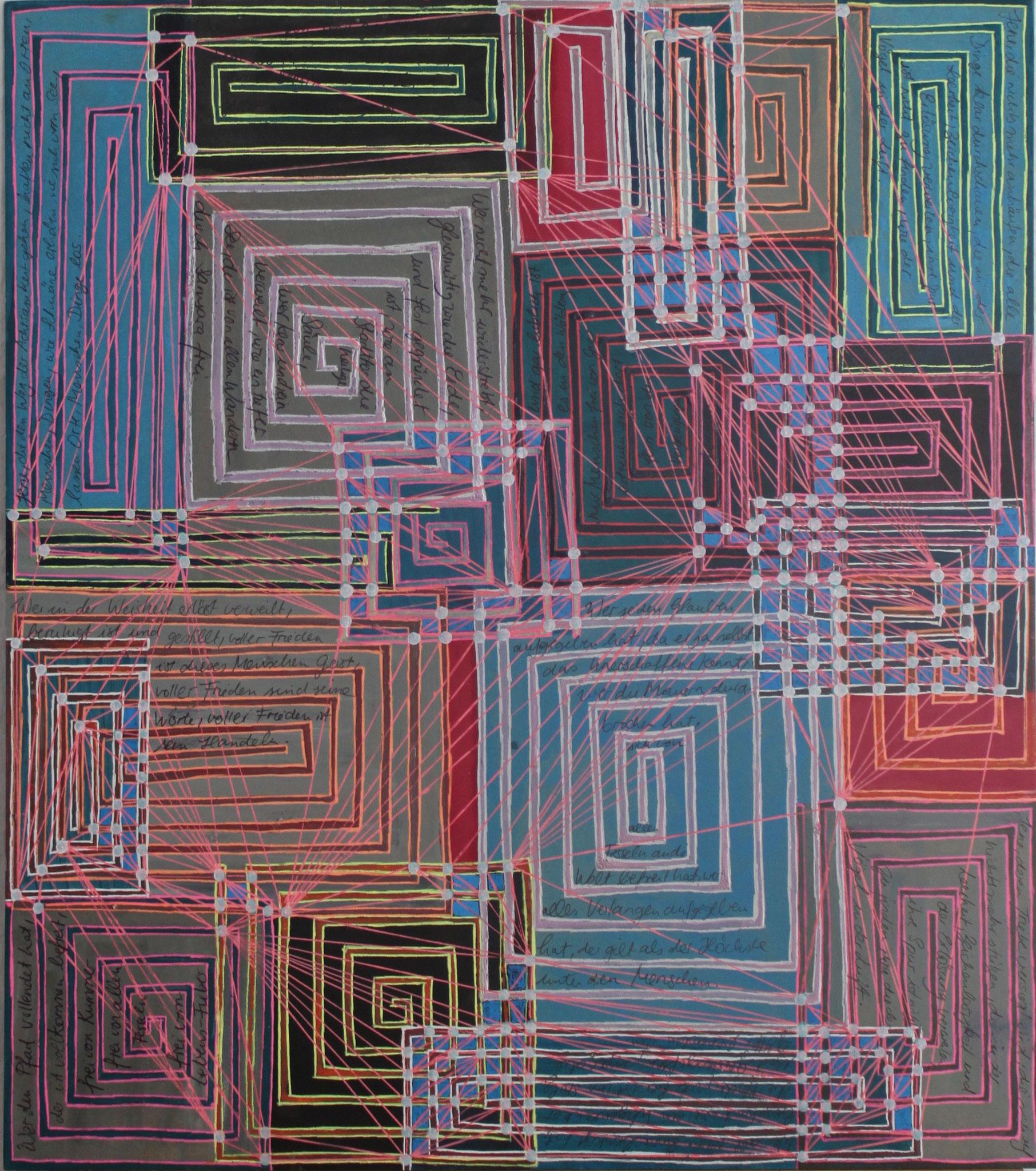 Sakura 7 - Der Heilige; Mischtechnik auf Karton; 42 cm x 37 cm; 2018