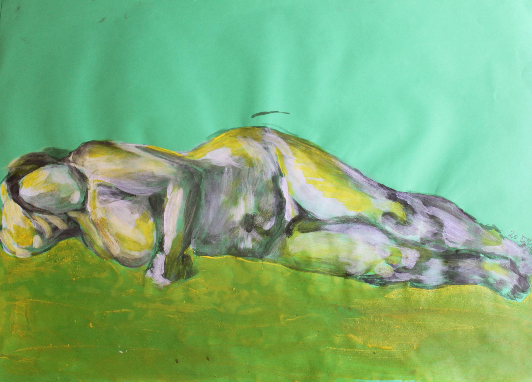 Grüne Frau liegend, Tempera und Kohle auf Papier, 2018, 50 cm x 69,5 cm