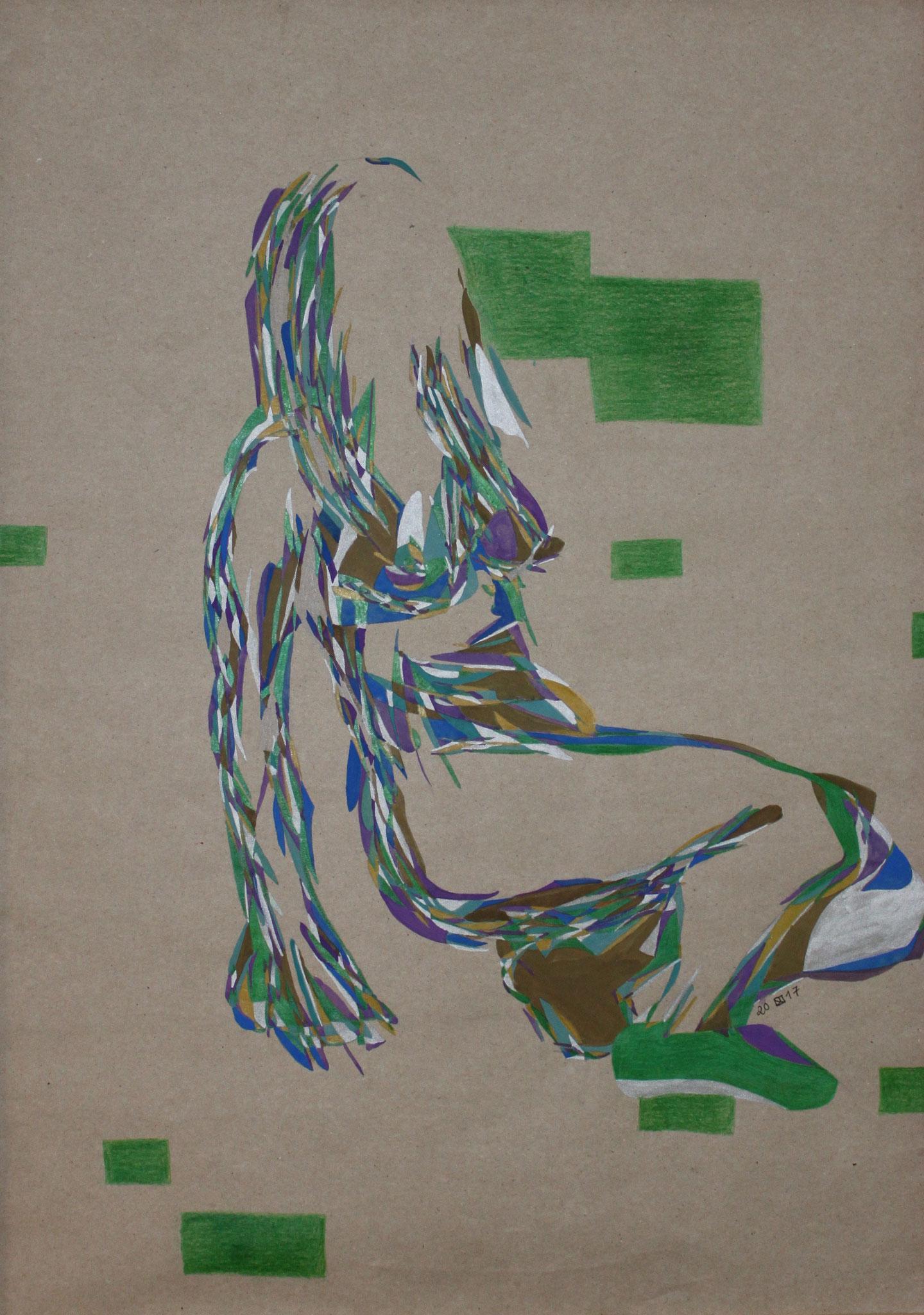 Green bricks, Aquarell und Buntstift auf Papier, 2017, 59 cm x 42 cm