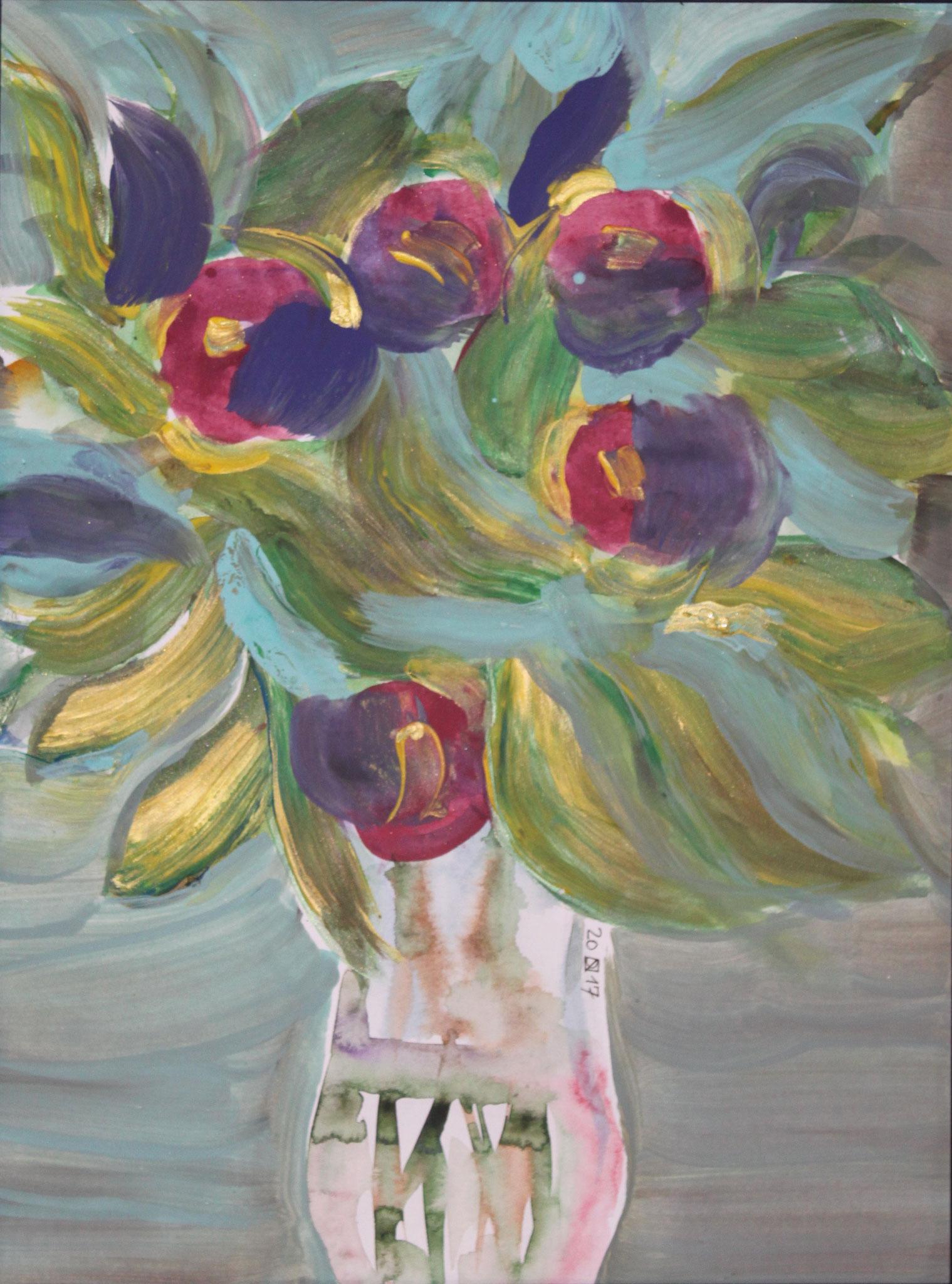 Hibiskus, 2018, Gouache und Aquarell auf Papier, 42 cm x 30 cm