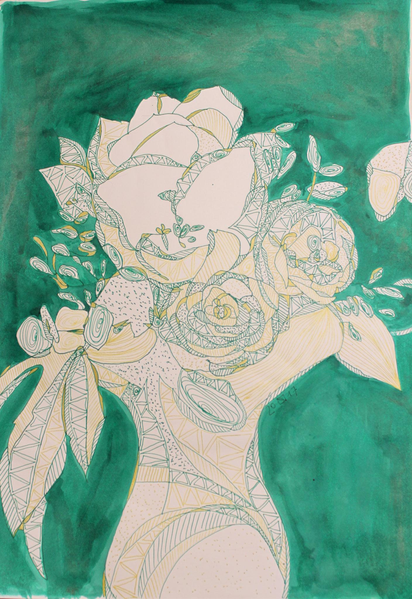 Geburtstagsblumen, Tinte und Fineliner auf Papier, 42 cm x 29 cm, 2017