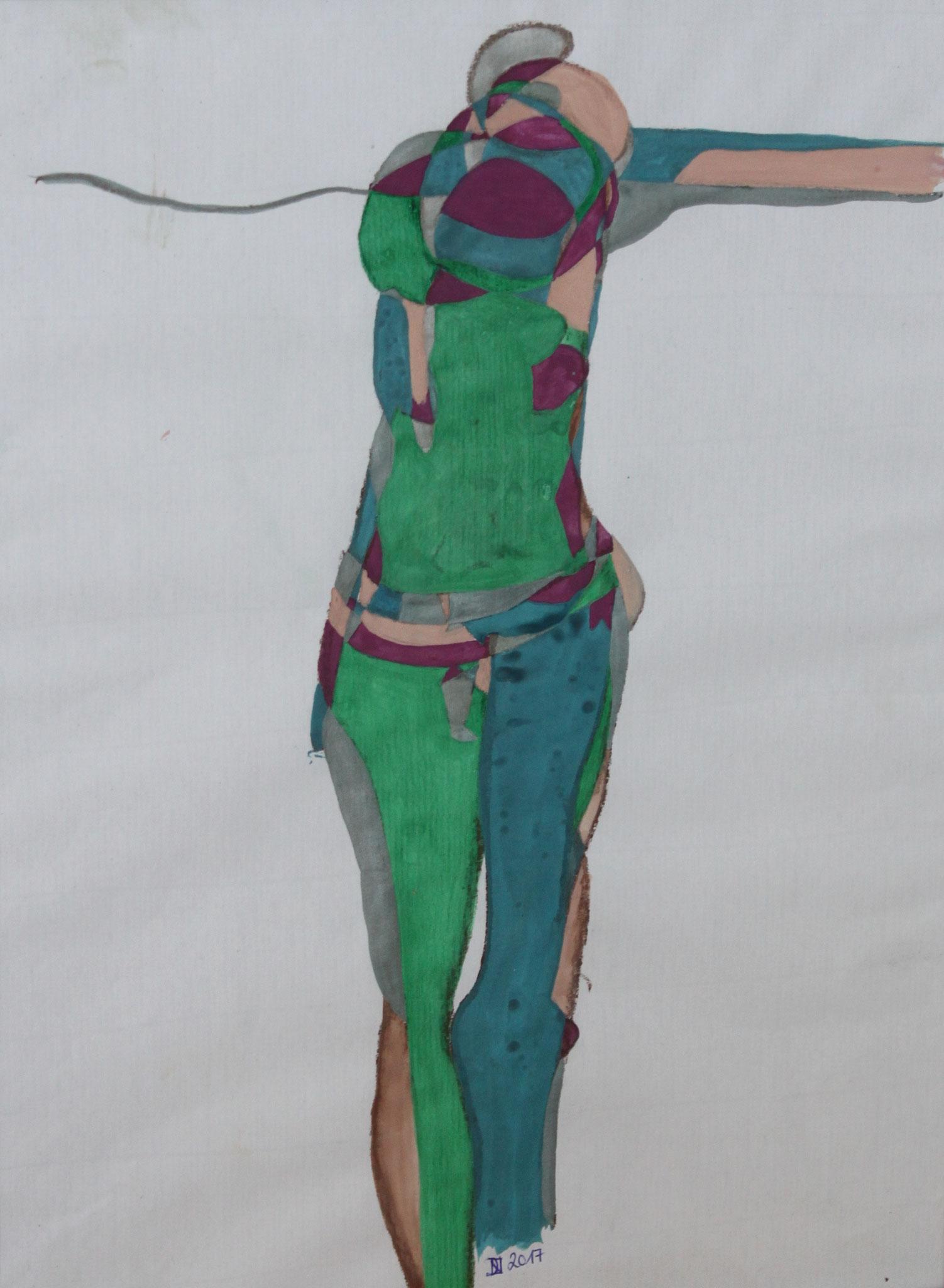 Am Kreuz, Aquarell und Buntstift auf Papier, 2017, 42 cm x 29 cm