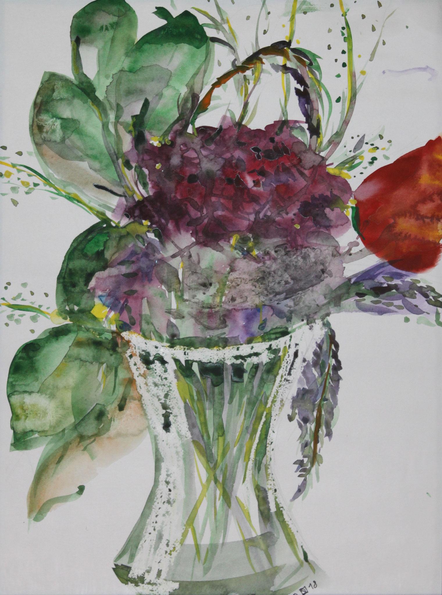 Blauregen, 2018, Gouache und Aquarell auf Papier, 42 cm x 30 cm
