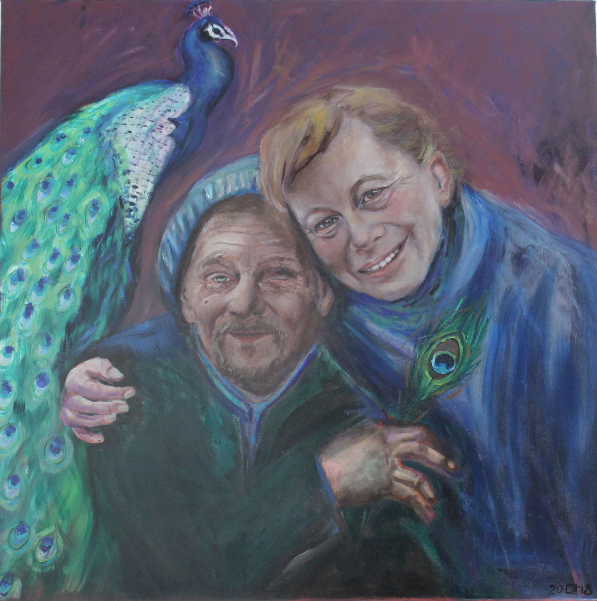Janek und Nicole, 2018, Öl auf Leinwand, 80 cm x 80 cm x 4 cm