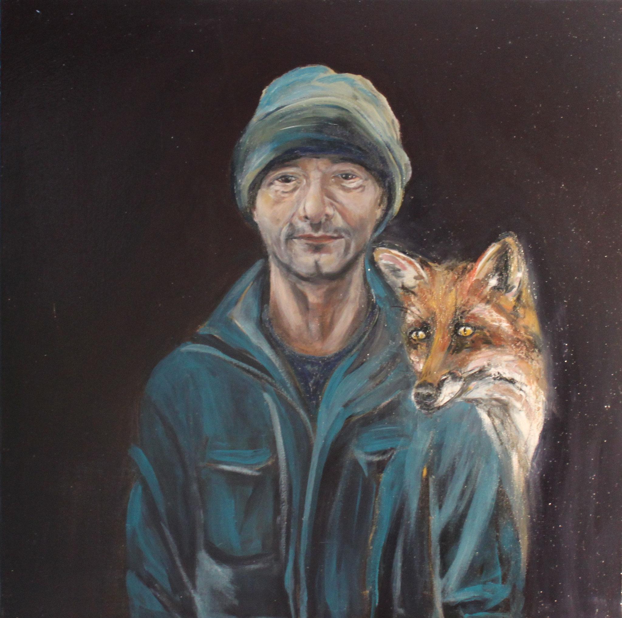 Zoran, 2017, Öl auf Leinwand, 80 cm x 80 cm x 4 cm