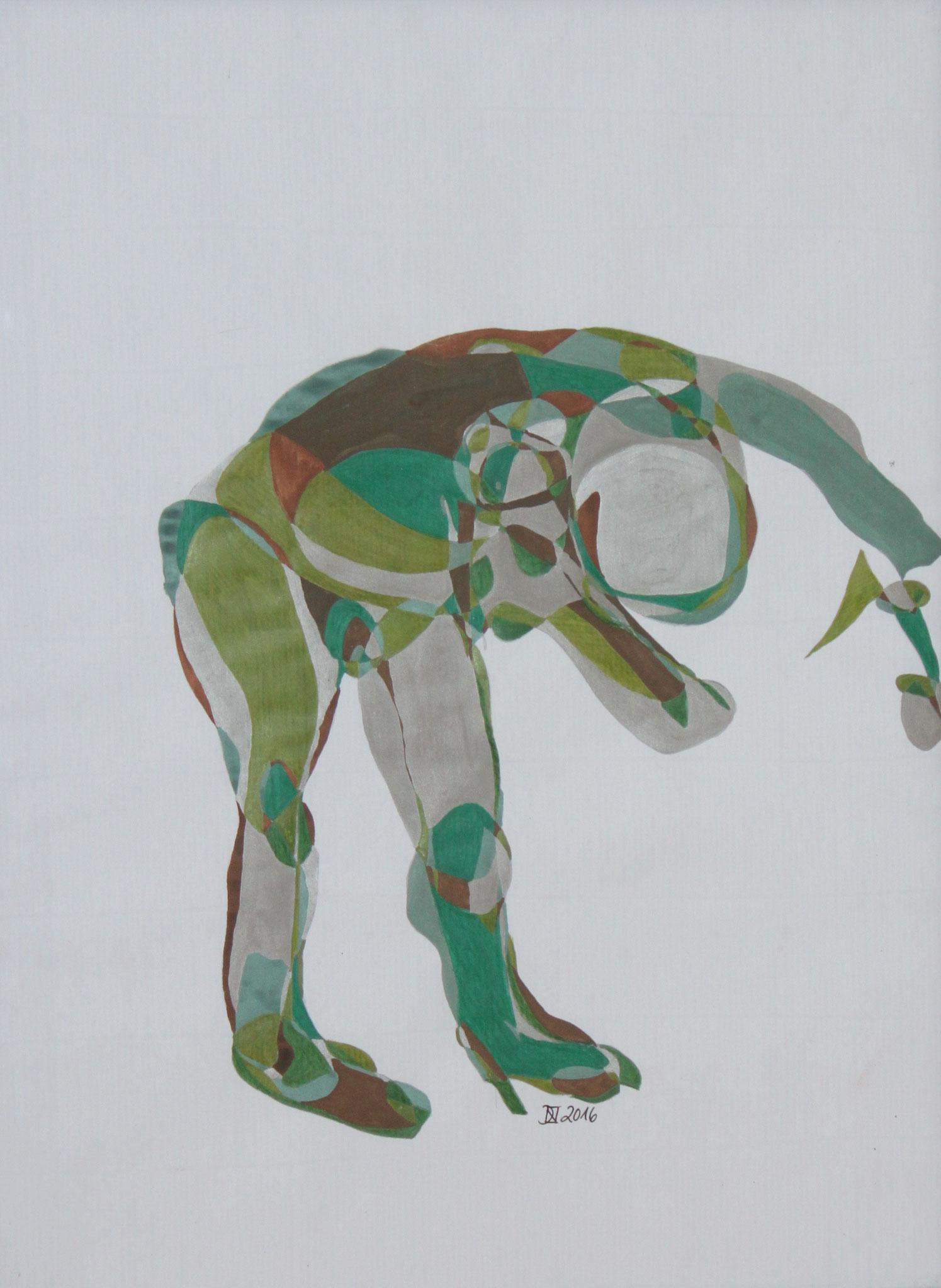 I bow to, Aquarell und Buntstift auf Papier, 2017, 42 cm x 29 cm