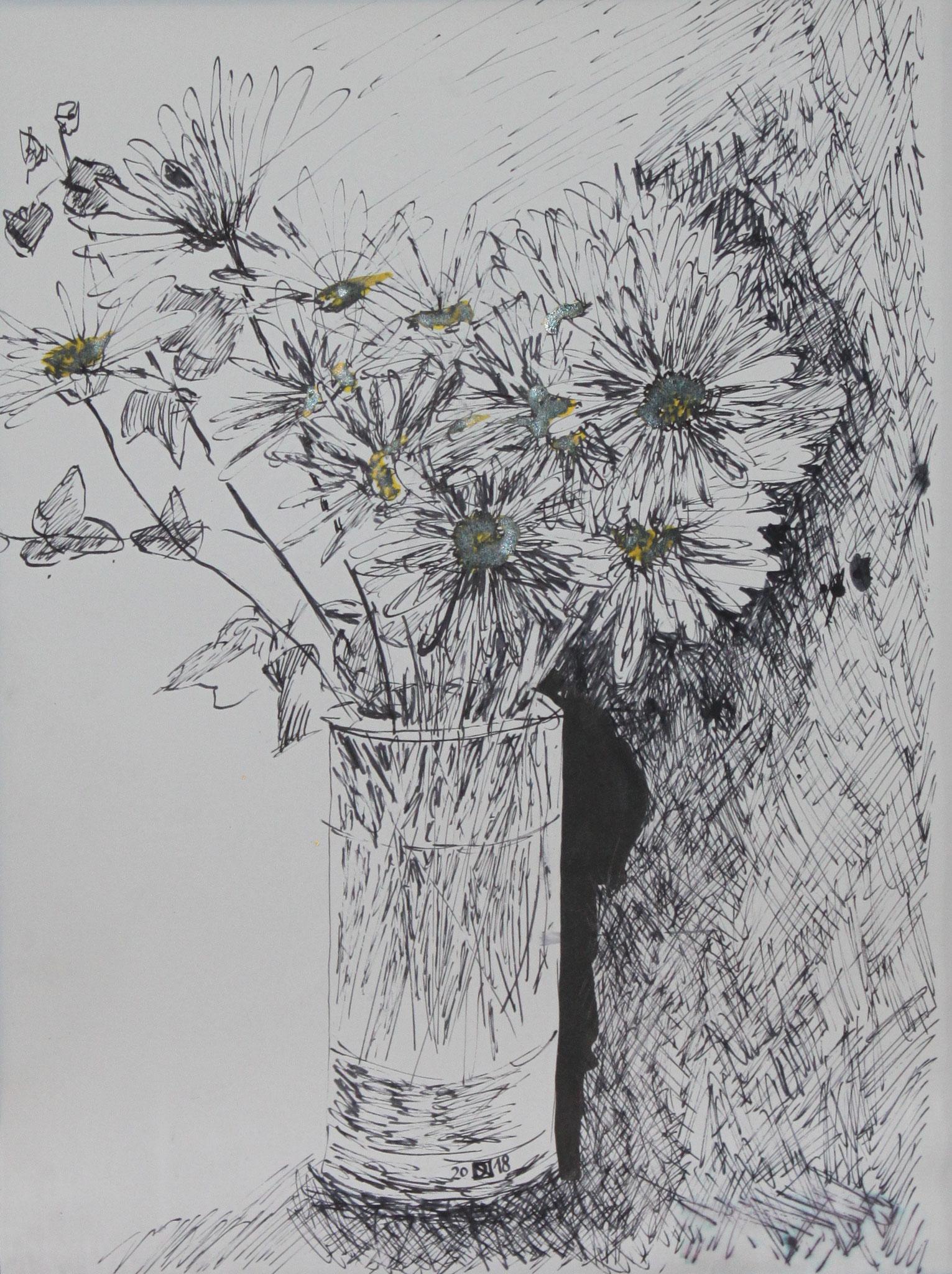 Margariten, 2018, Tusche auf Papier, 42 cm x 30 cm