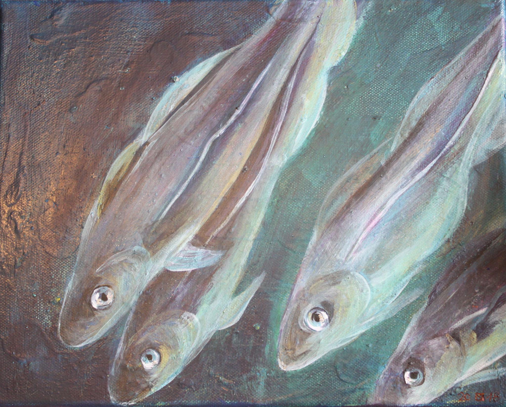 Dorsche, Acryl auf Leinwand, 2018, 25 cm x 30 cm x 1 cm