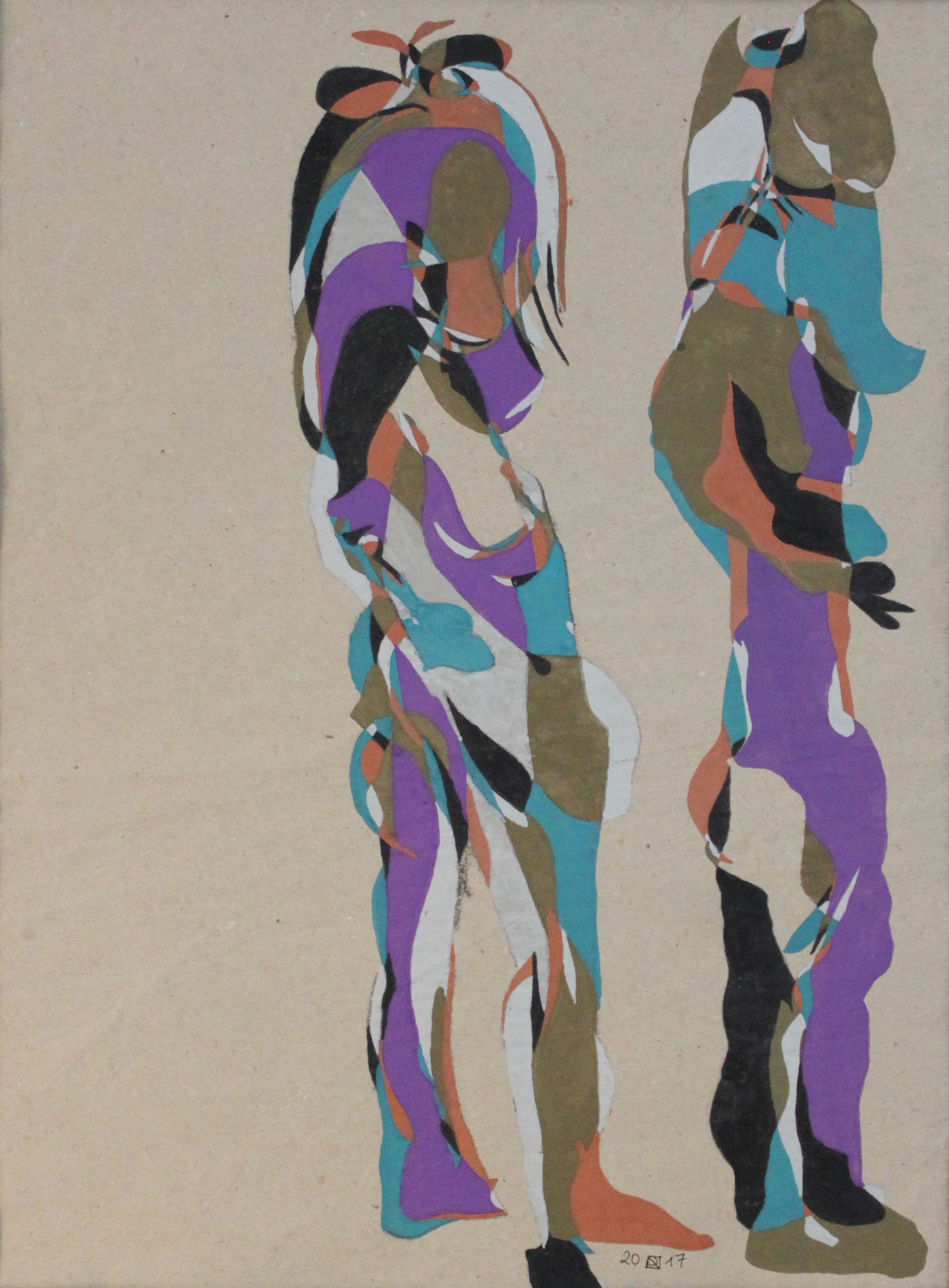 Satyrpärchen, Aquarell und Buntstift auf Papier, 2017, 47 cm x 34 cm