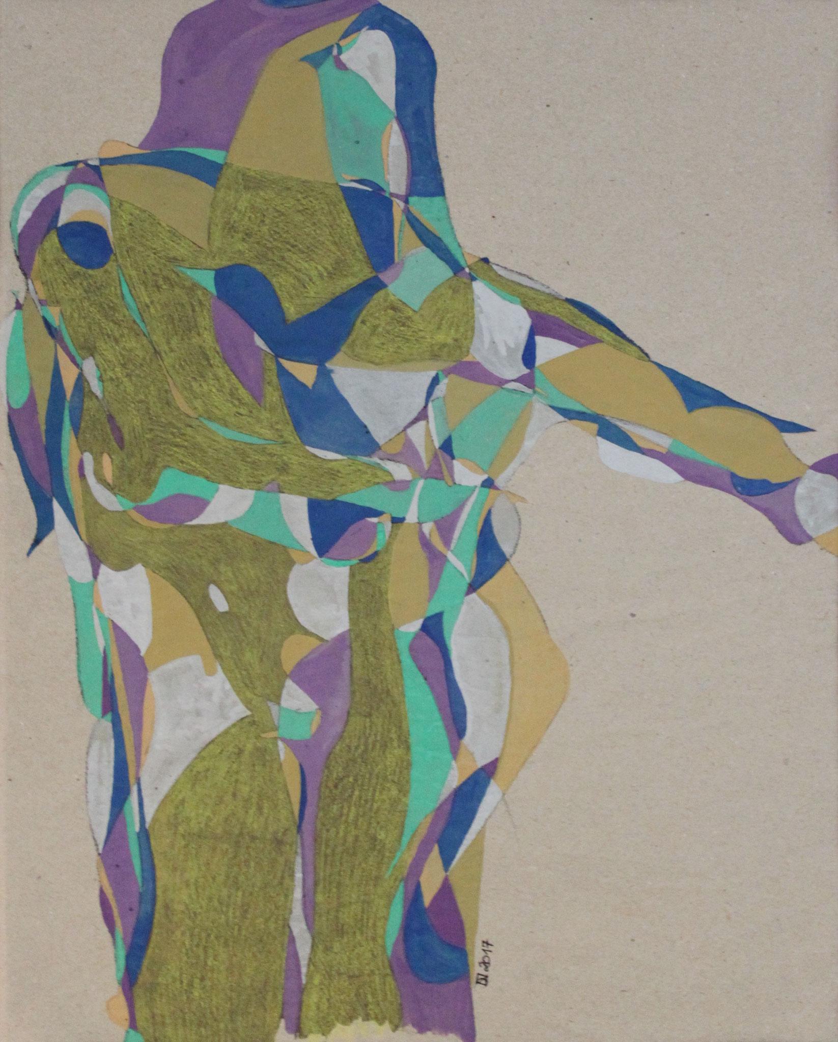 Boogy Woogy,  Aquarell und Buntstift auf Papier, 2017, 48 cm x 37 cm