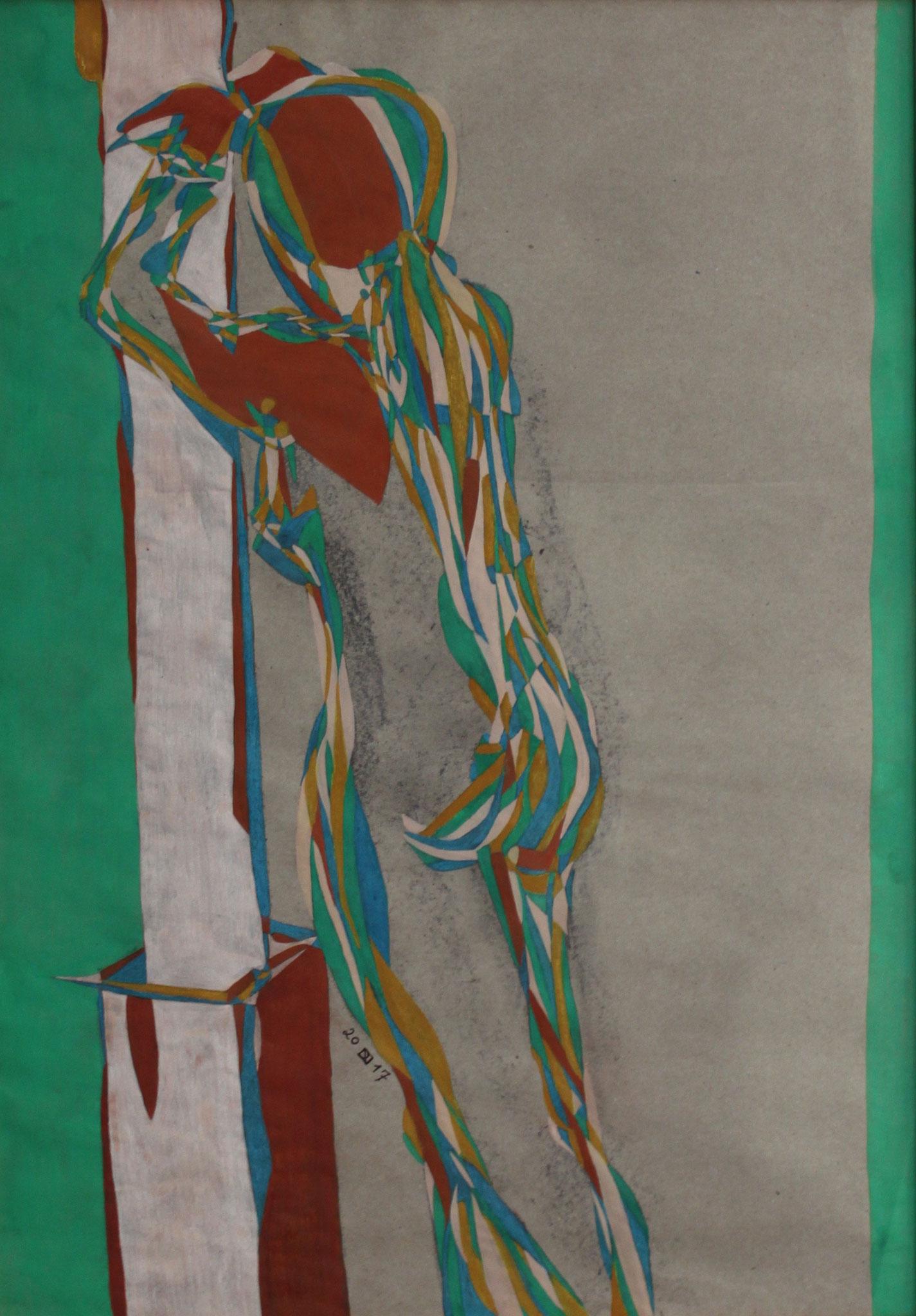 Leaning, Aquarell und Buntstift auf Papier, 2017, 59 cm x 42 cm