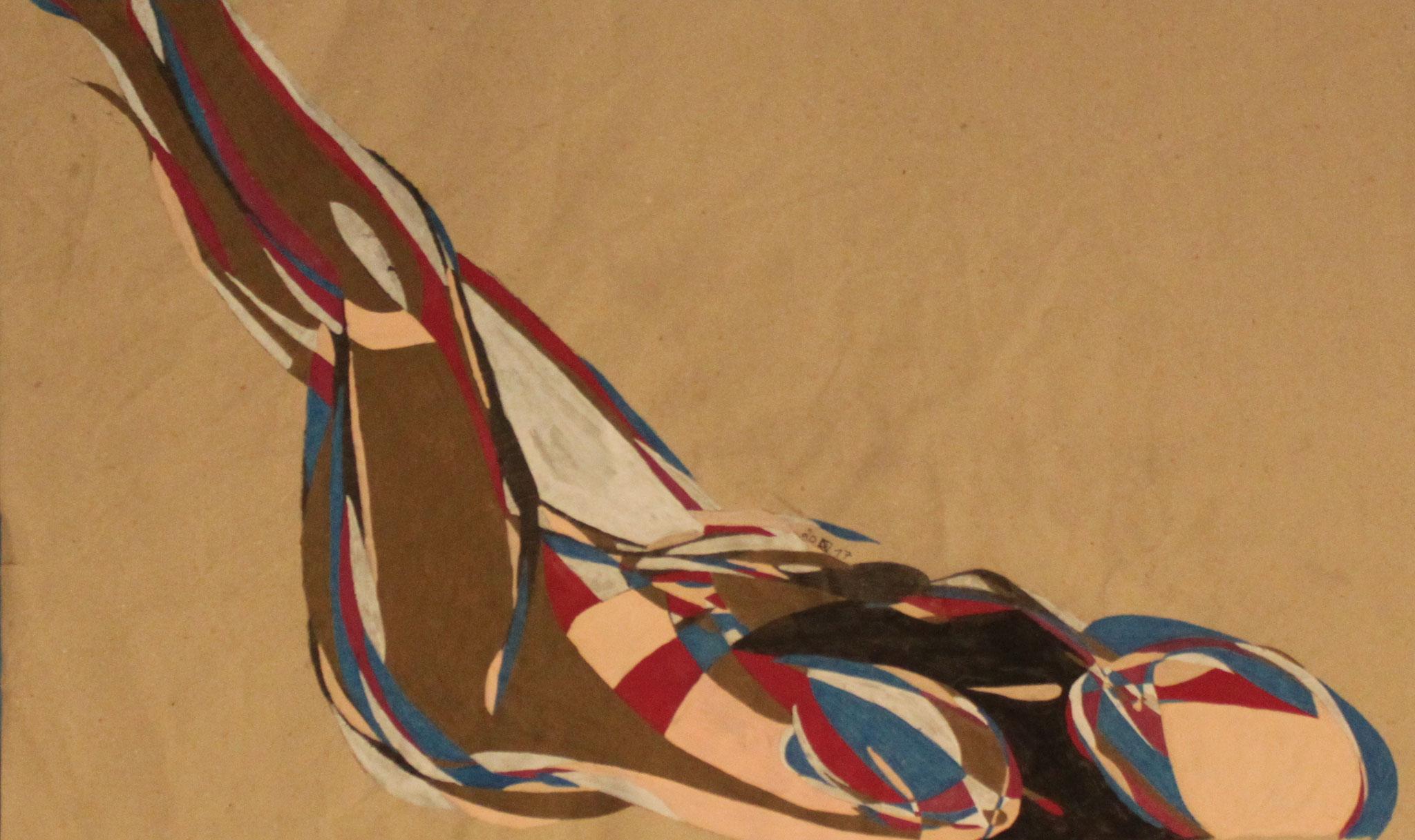 Lying, Aquarell und Buntstift auf Papier, 2017,  42 cm x 70 cm