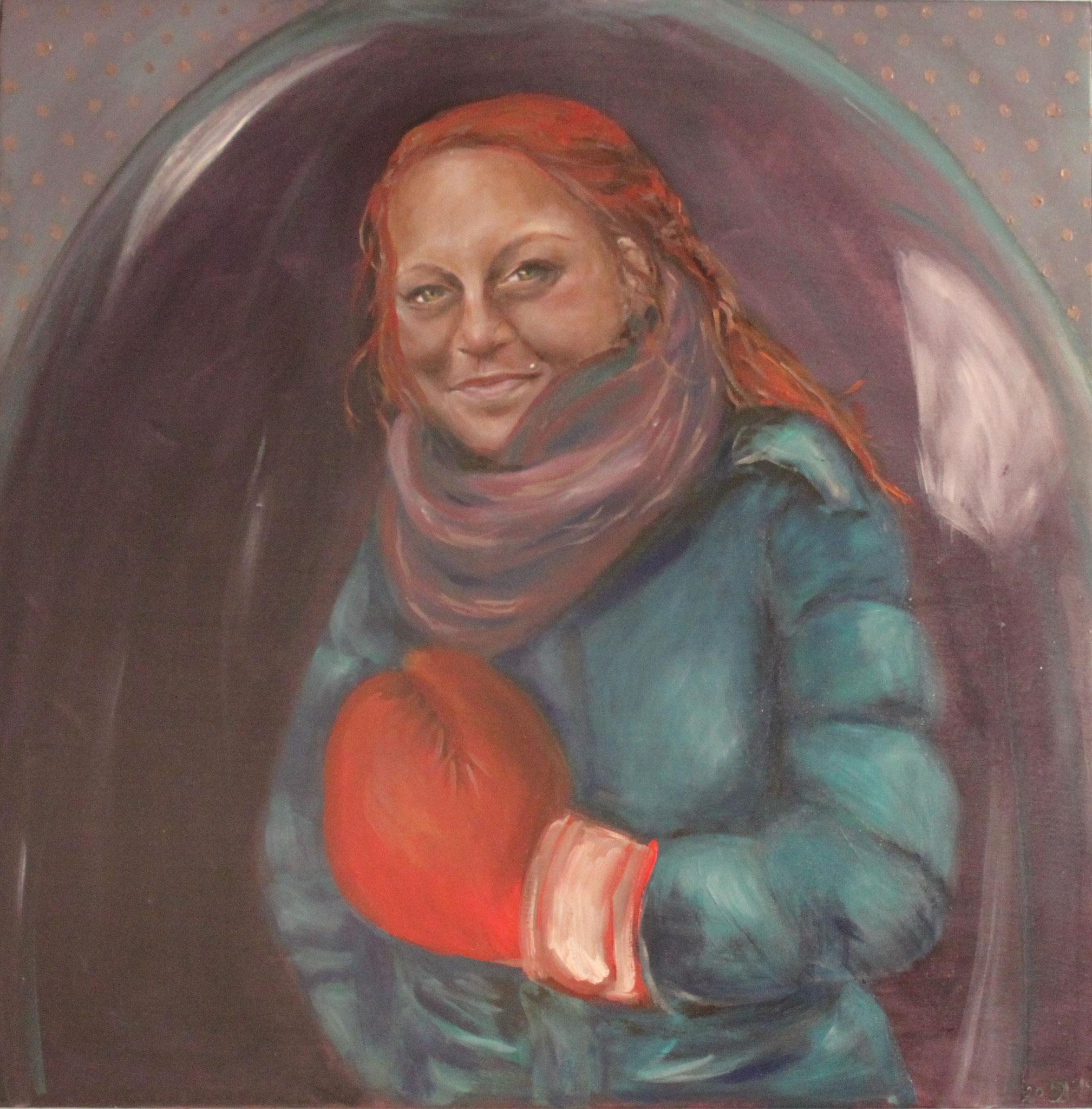 Melissa, 2018, Öl auf Leinwand, 80 cm x 80 cm x 4 cm