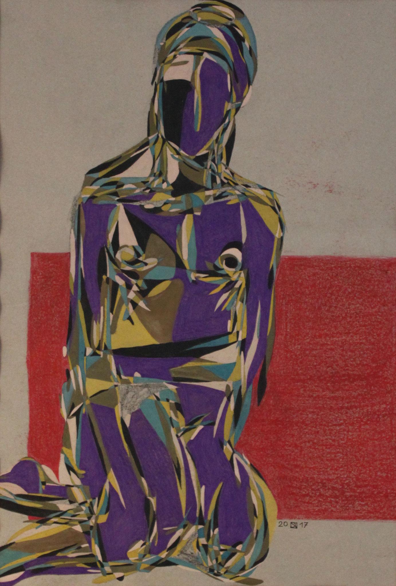 Mädchen mit Turban,  Aquarell und Buntstift auf Papier, 2017, 59 cm x 42 cm