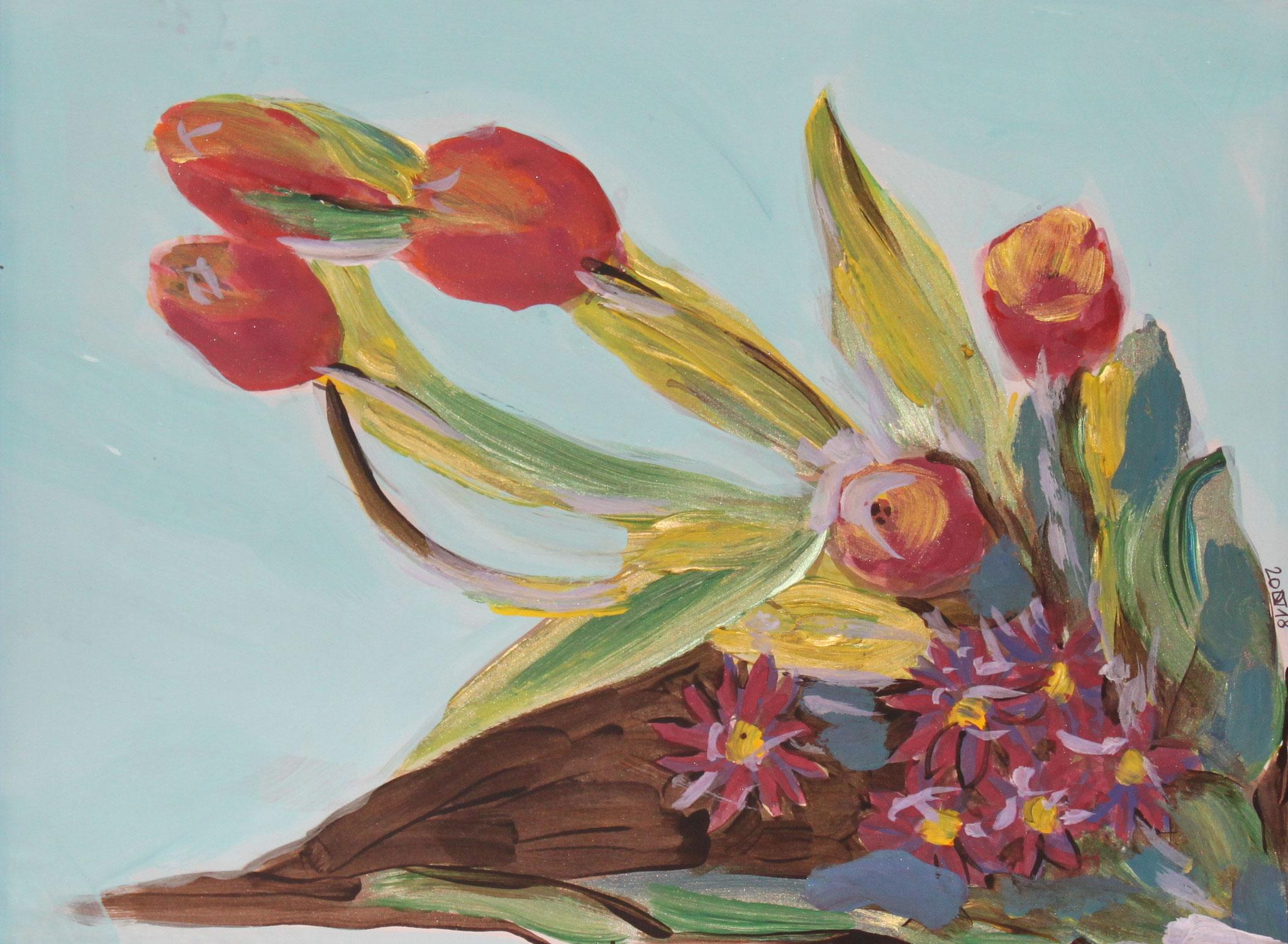 Tulpen, 2018, Gouache und Aquarell auf Papier, 30 cm x 42 cm