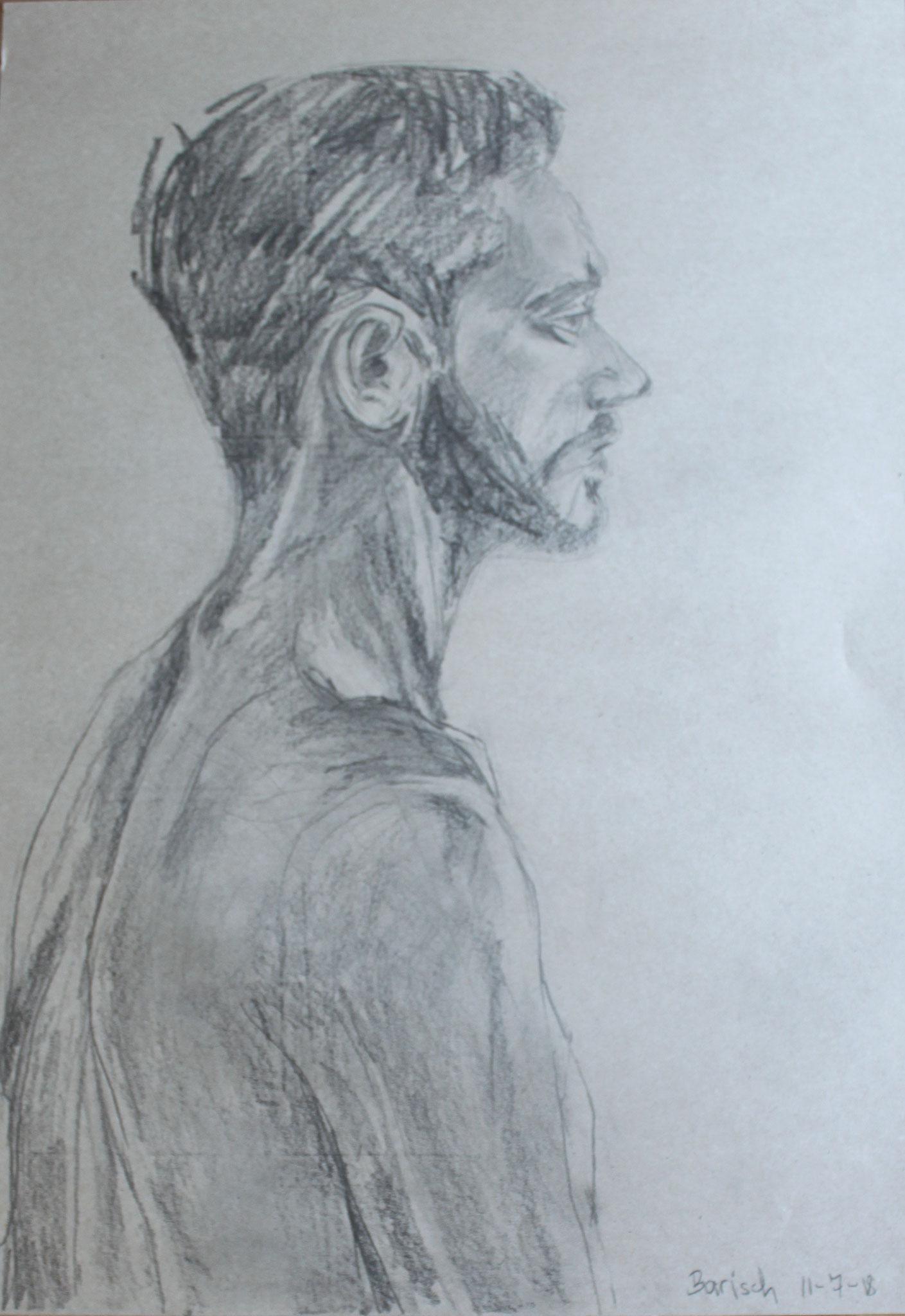 Barisch von hinten, Bleistift auf Papier, 2018, 60 cm x 42 cm