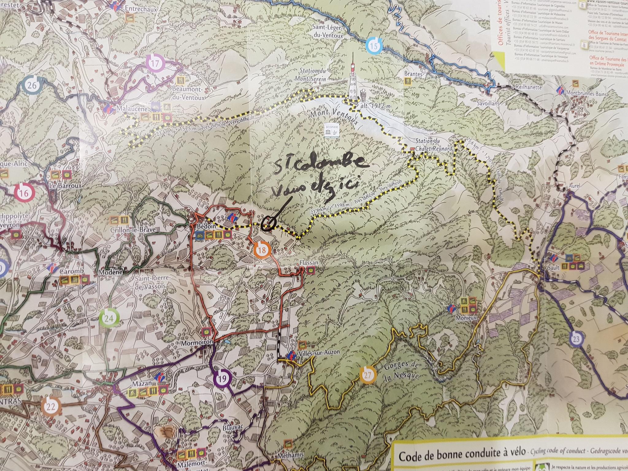 emplacement carte Hôtel pension restaurant le Guintrand au pied du mont Ventoux Bedoin Vaucluse