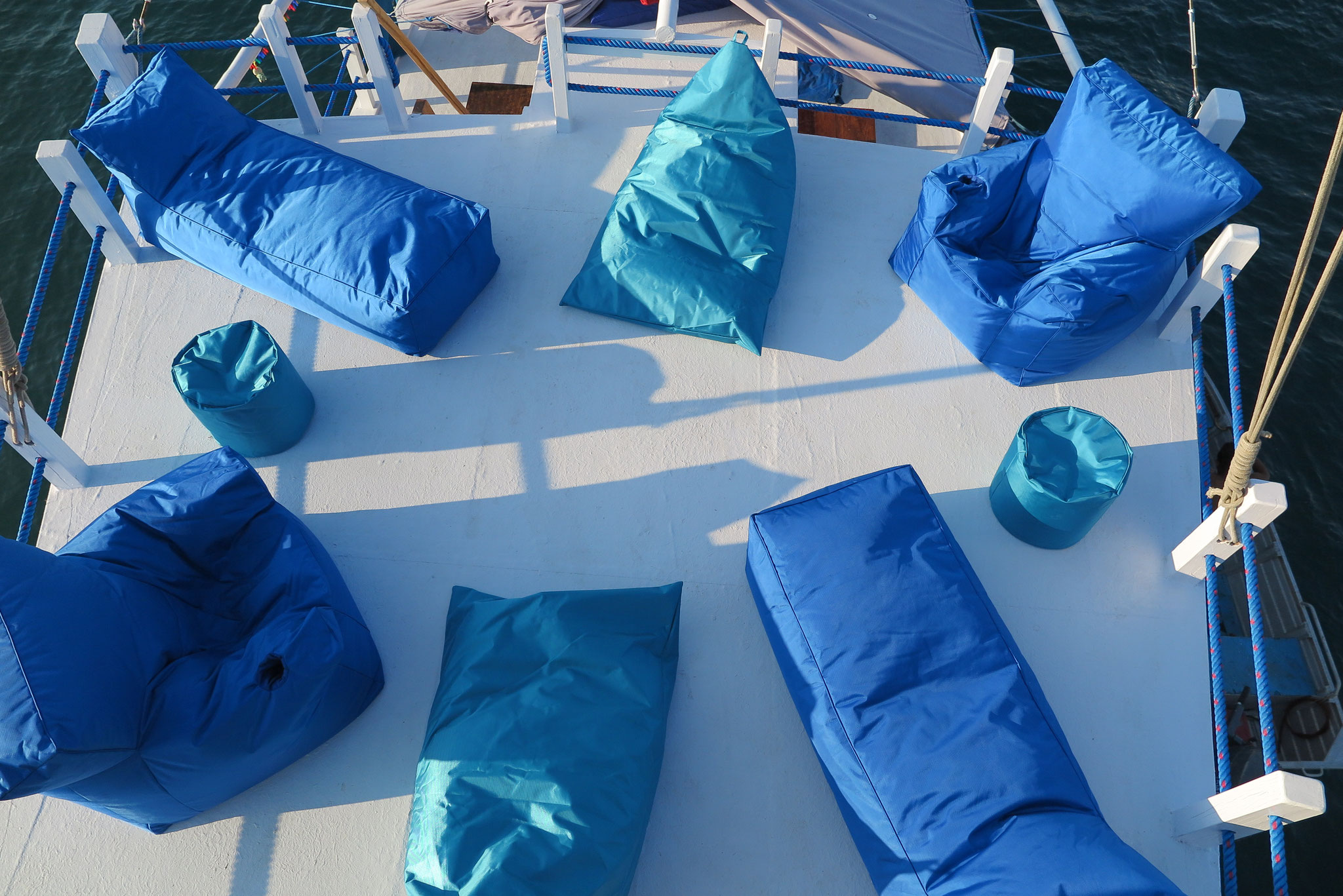 Sundeck and bean bags for a perfect chilling moment on Tidak Apa'Pa