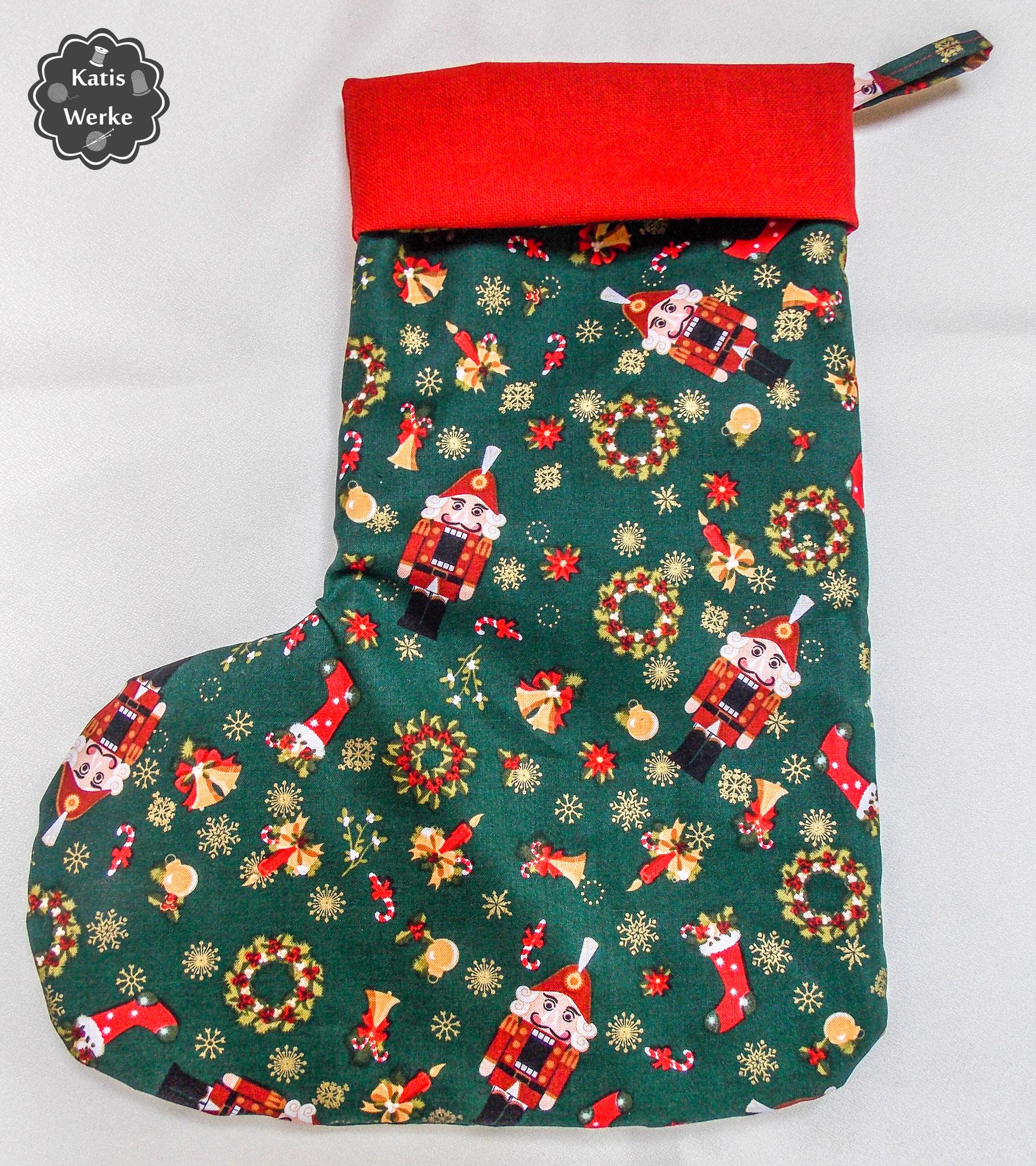 Nikolausstiefel aus Weihnachtsstoff