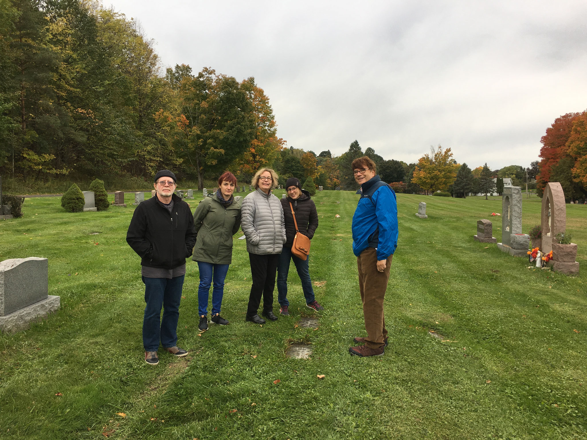 Jerry, Wendy, Jan, Emily, & John at Mayme & Stanley Baldyga's grave, St. Mary's Cemetery, DeWitt, NY Oct. 2018