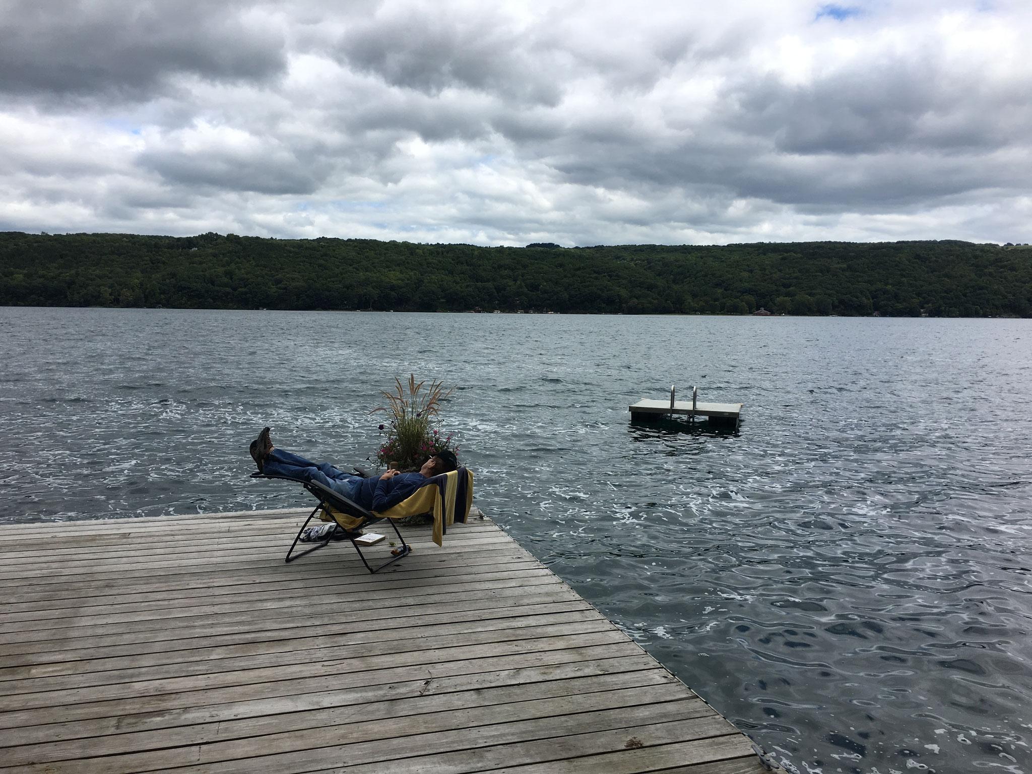 John on a cloudy day, Skaneateles Lake