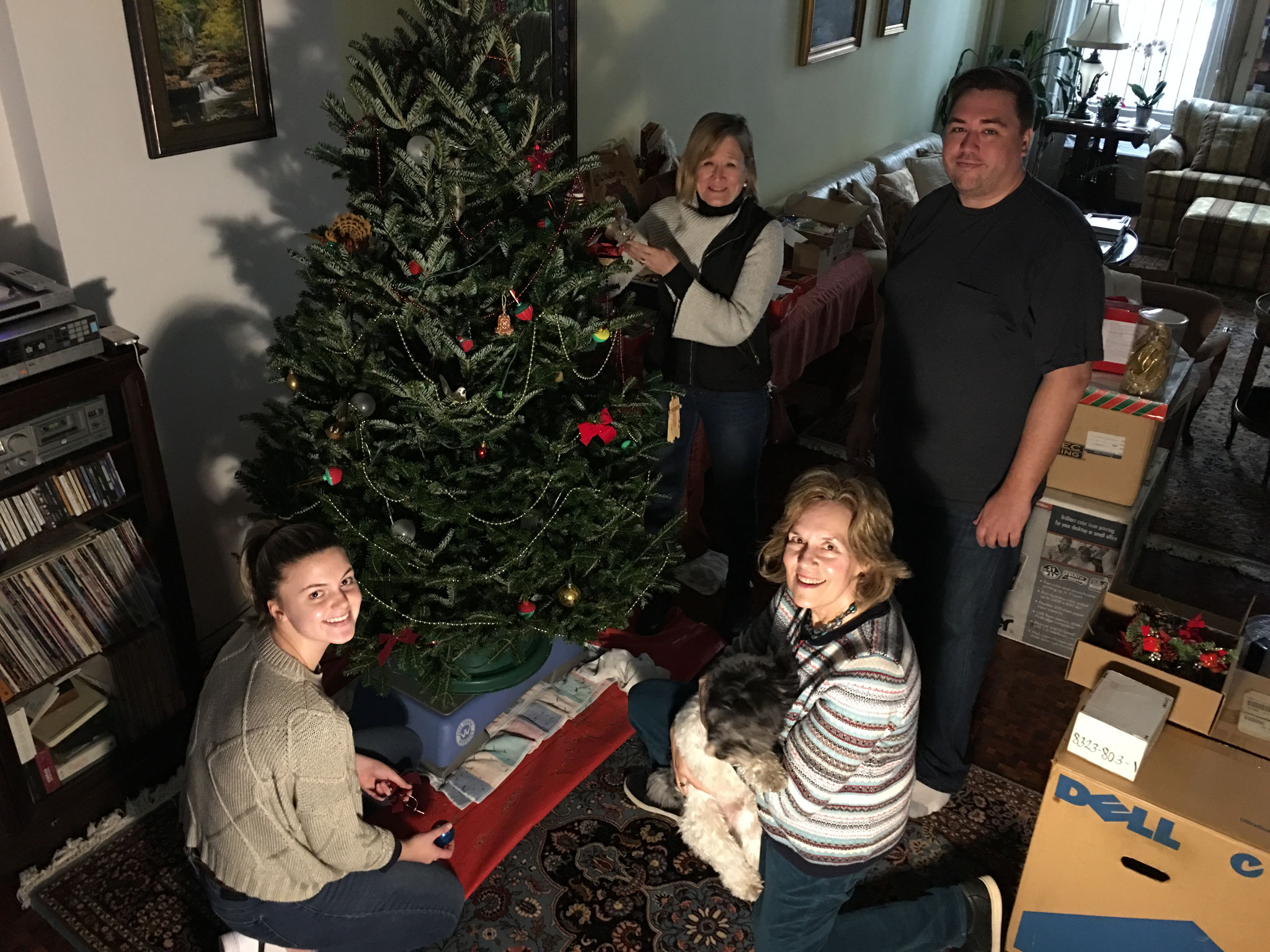 Kate, Sally, Greg & Lorraine decorate our Xmas tree, Dec. 2018